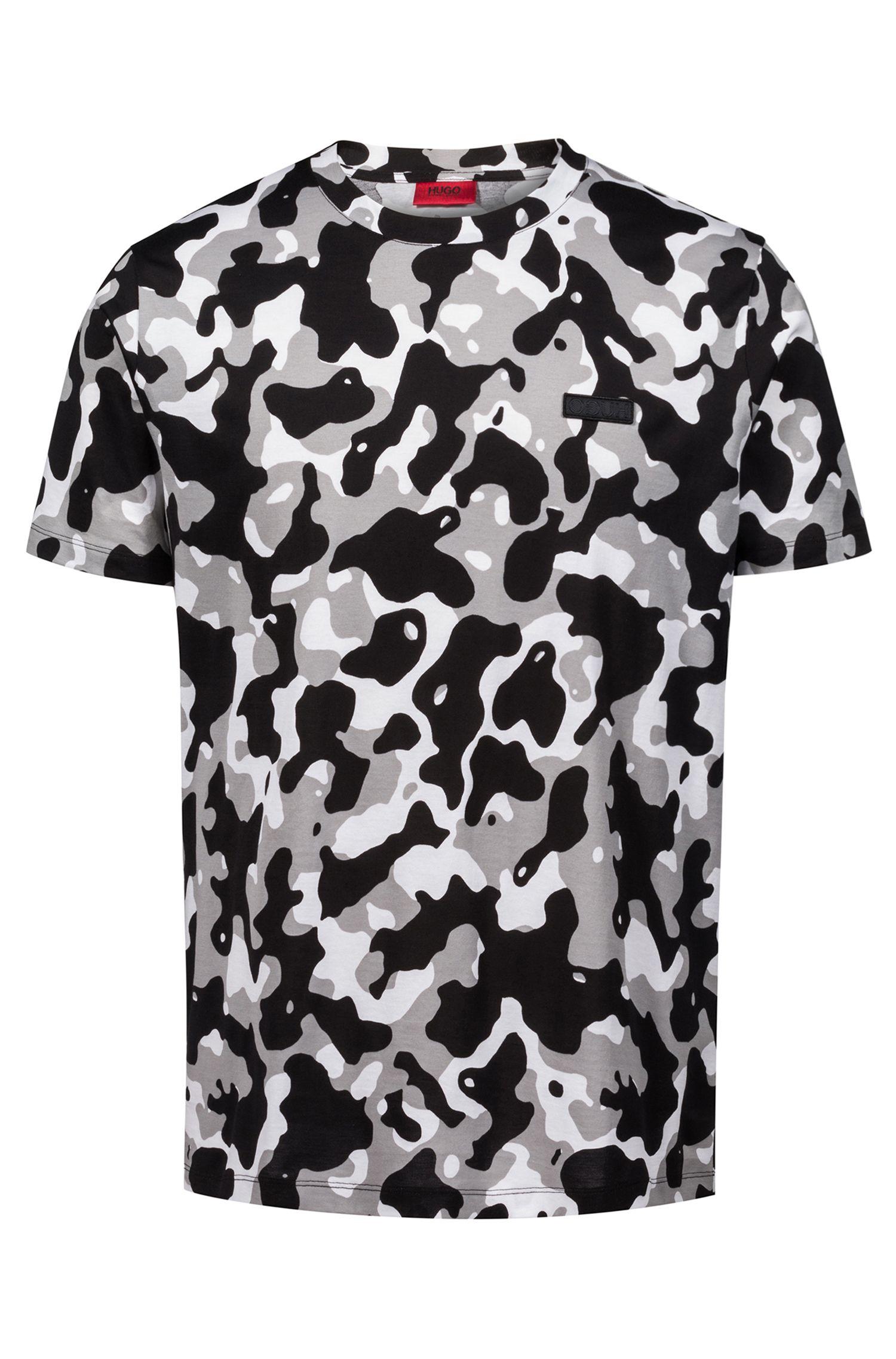 Camiseta relaxed fit en puro algodón con estampado de camuflaje, Fantasía