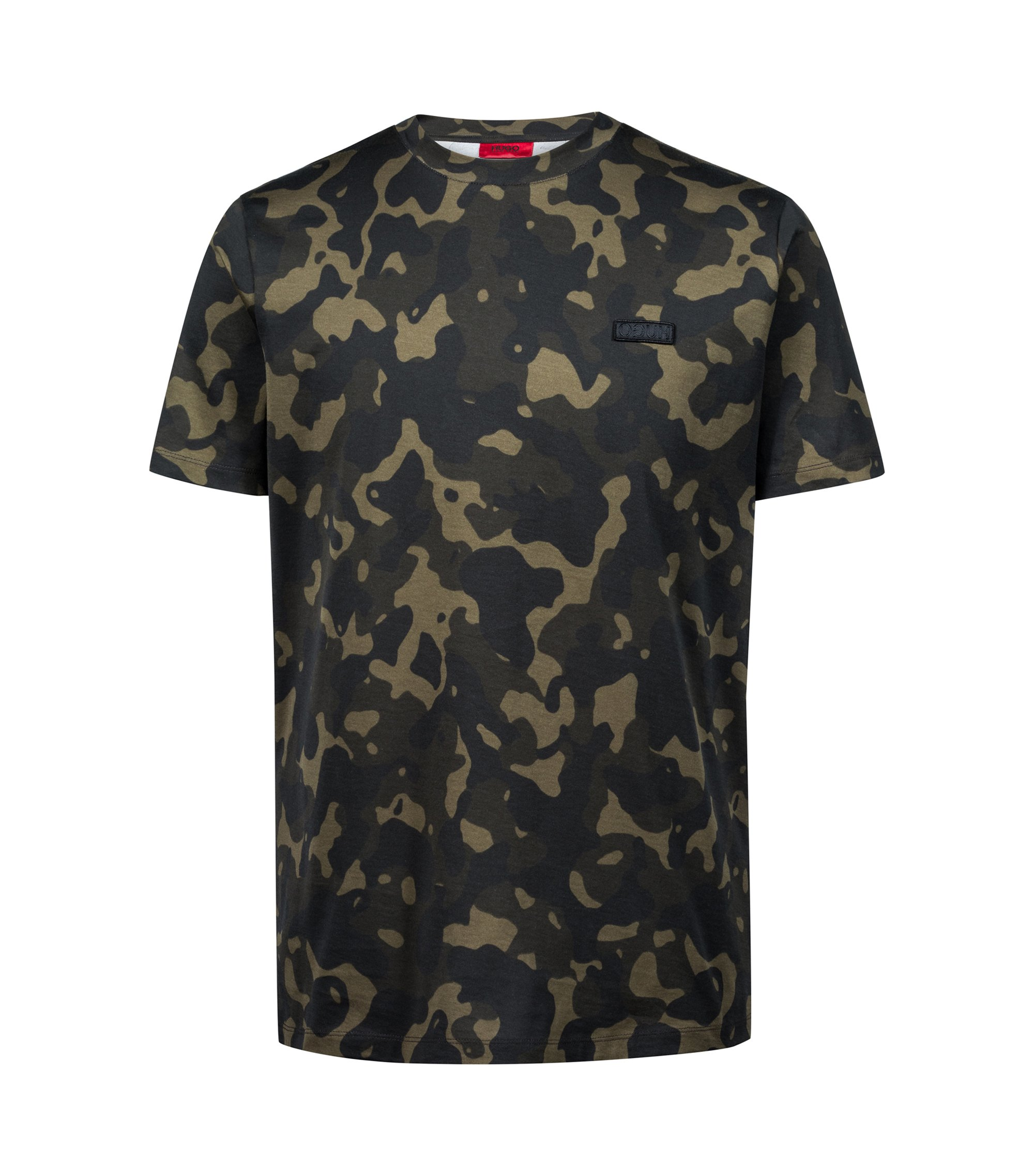 T-shirt relaxed fit in puro cotone con stampa camouflage, A disegni