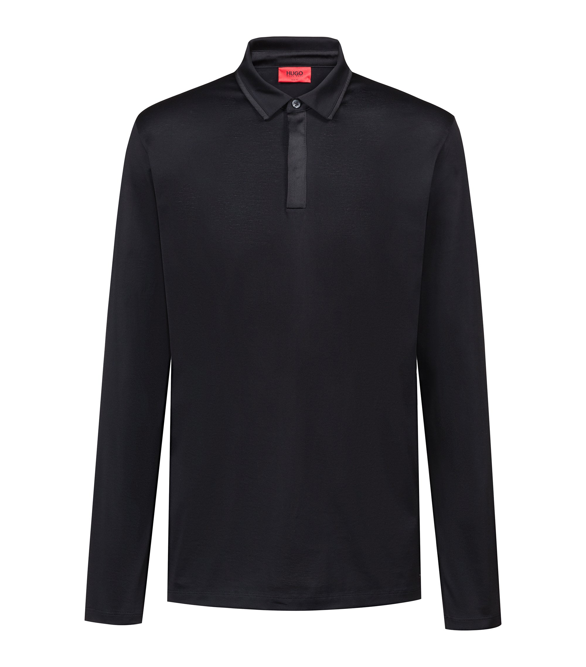 Long-sleeved polo shirt in mercerised cotton, Black