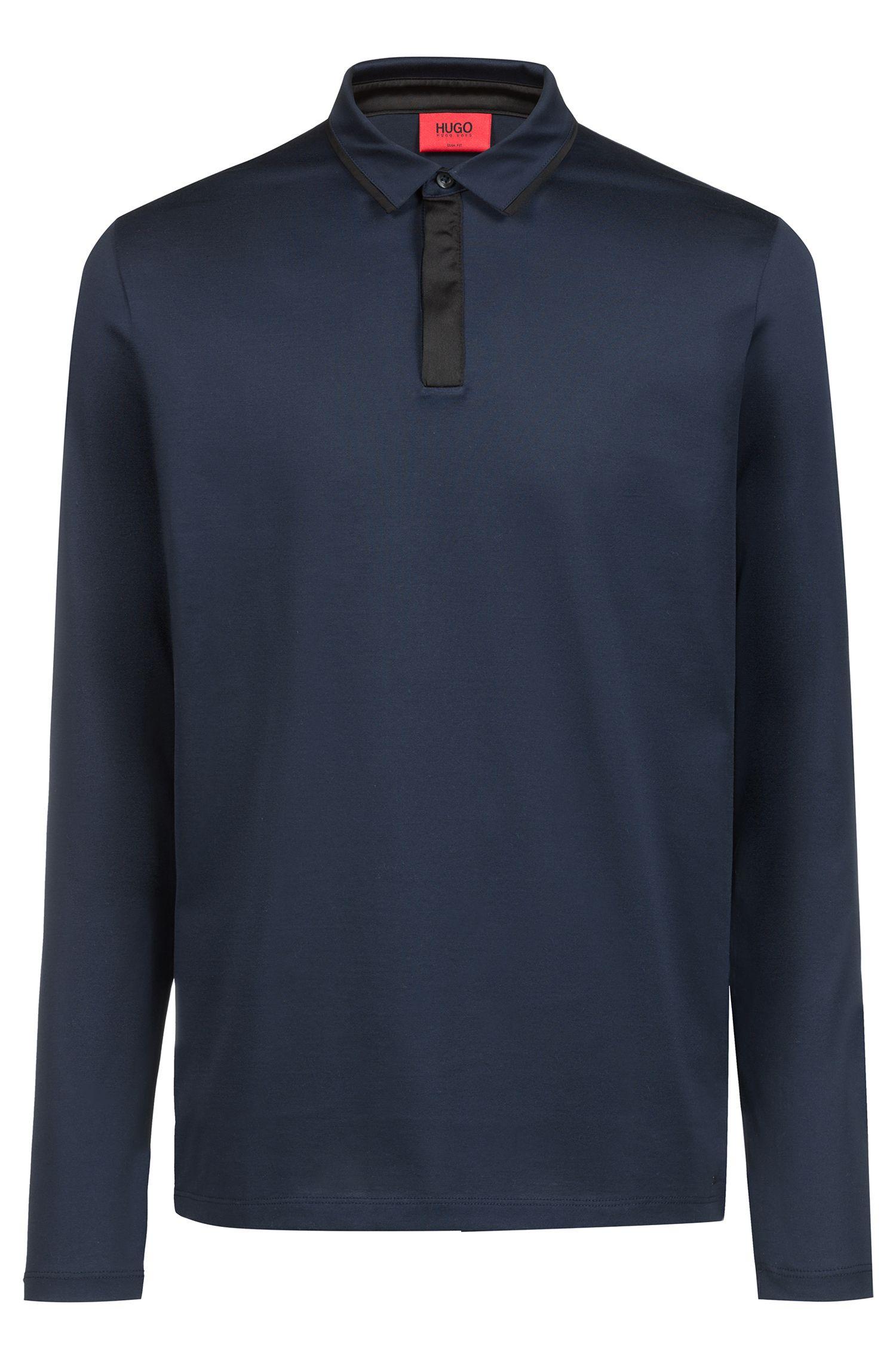 Polo à manches longues en coton mercerisé, Bleu foncé