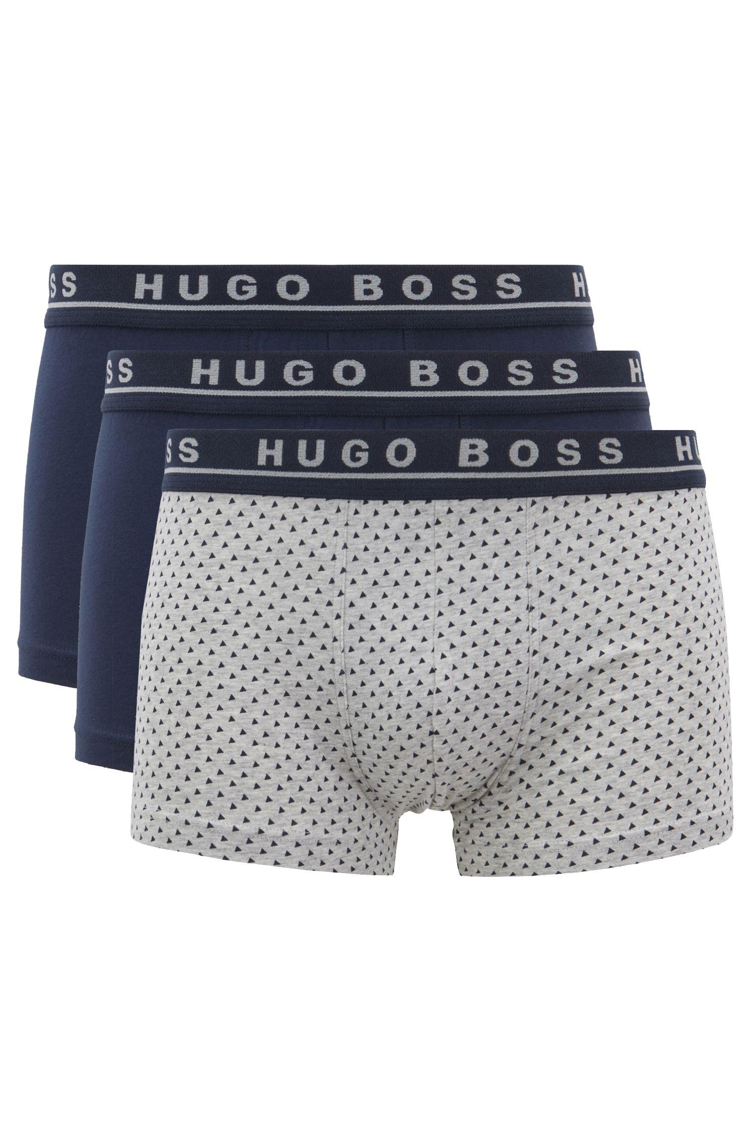 Lot de trois boxers courts en coton stretch, avec taille logo, Fantaisie