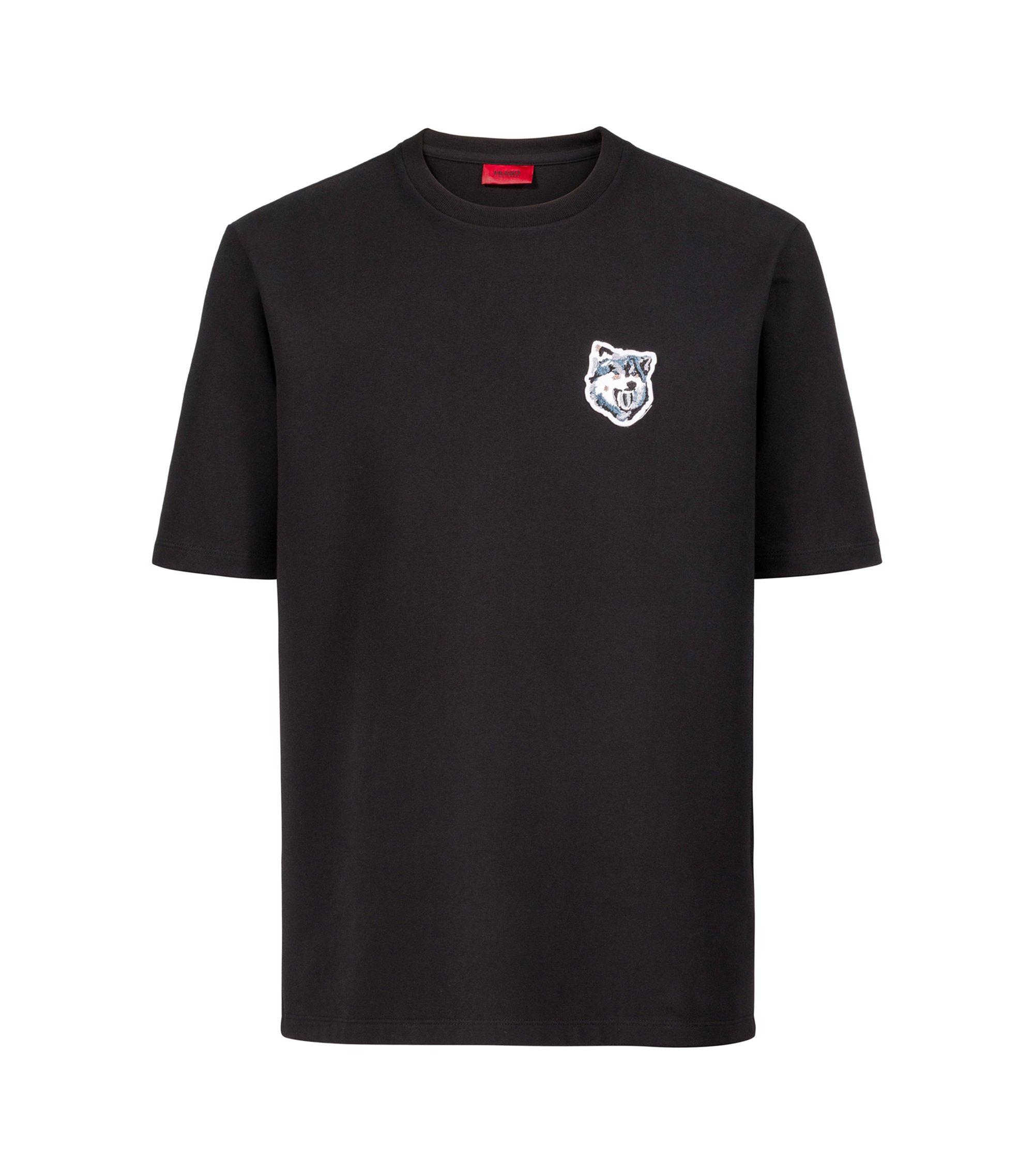 T-shirt Oversized Fit en doux French Terry avec badge loup, Noir