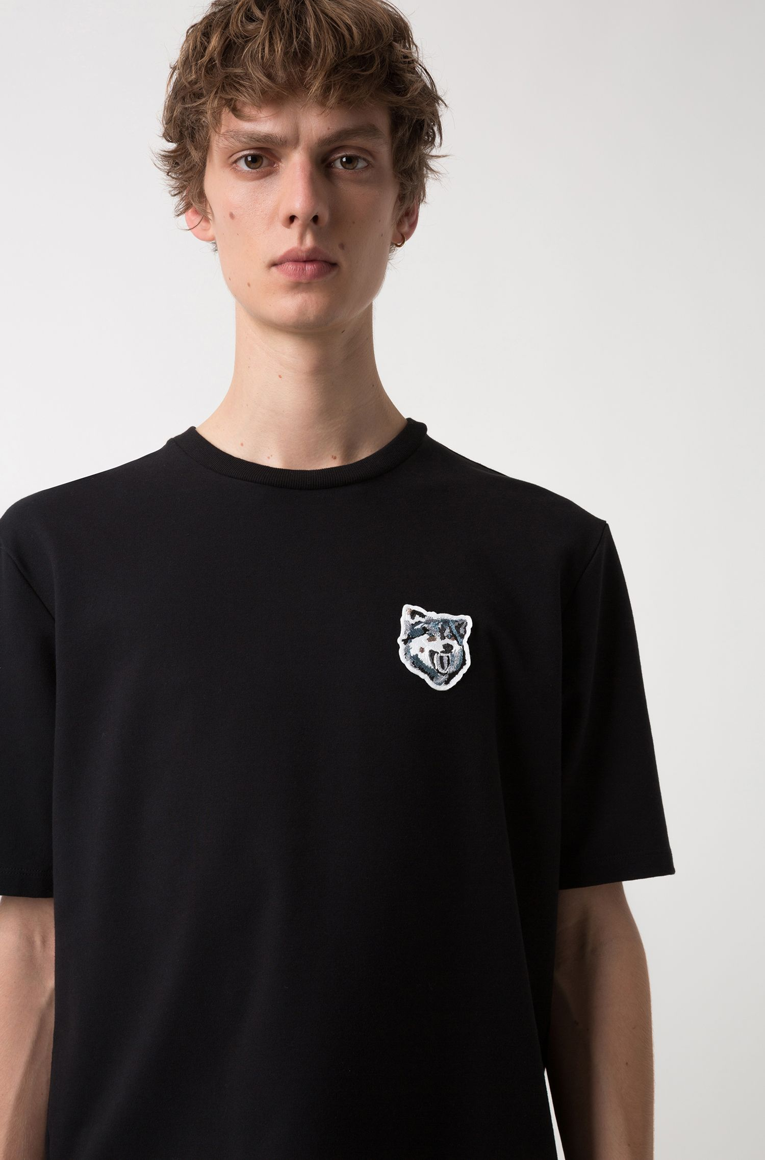 Oversized-fit T-shirt in French terry with wolf badge