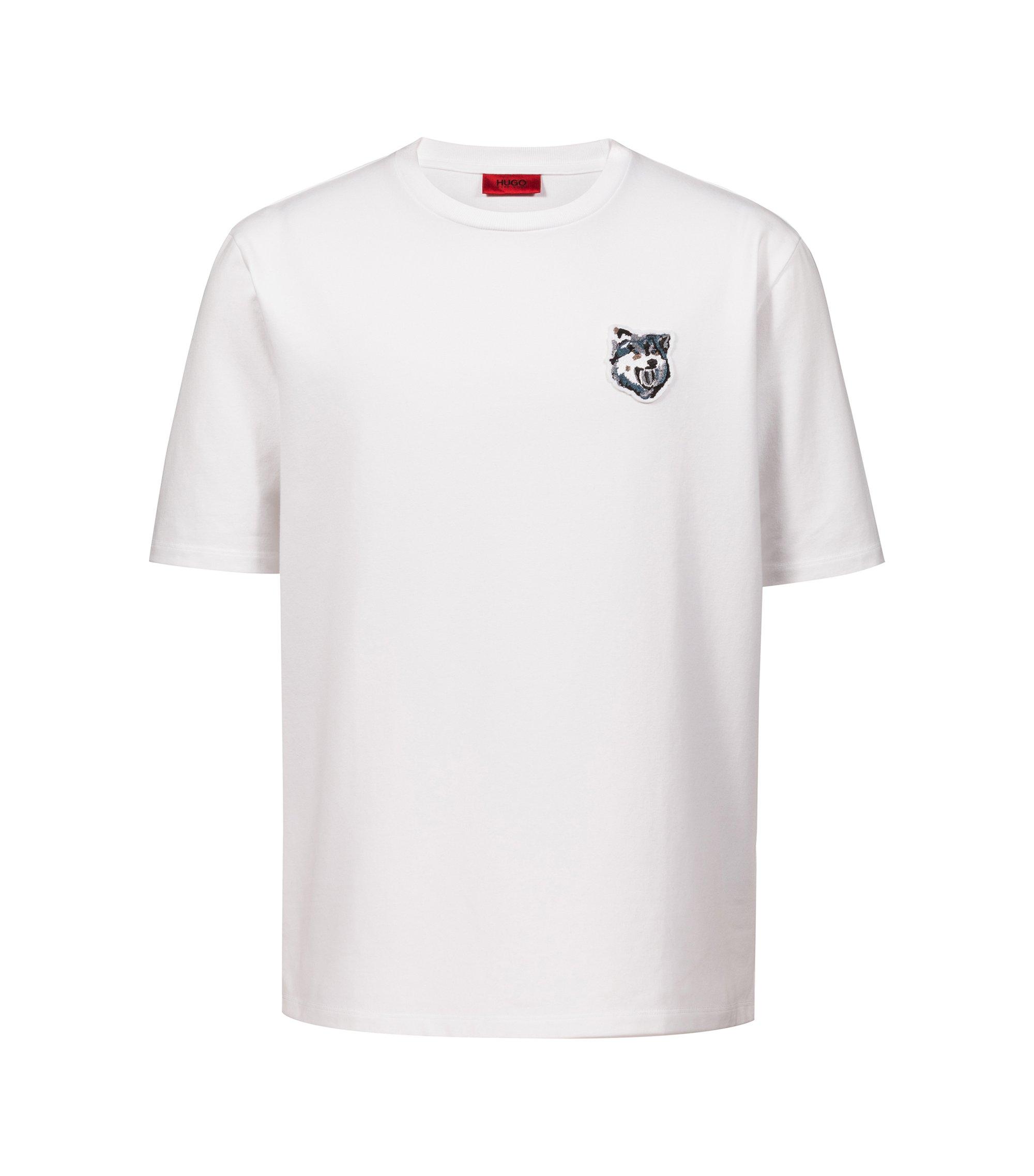 T-shirt Oversized Fit en doux French Terry avec badge loup, Blanc