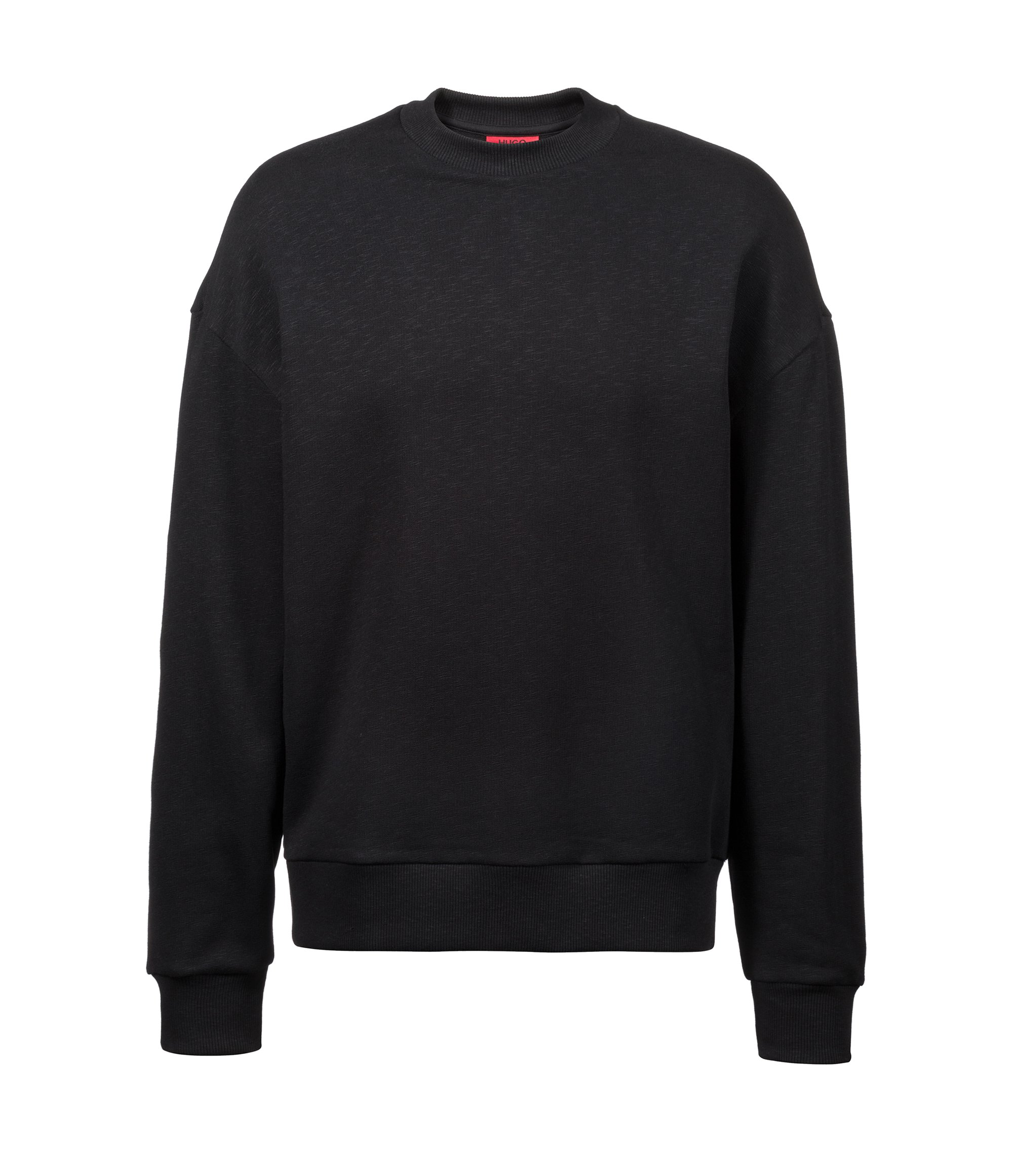 Unisex oversized-fit sweatshirt in slub French terry, Black