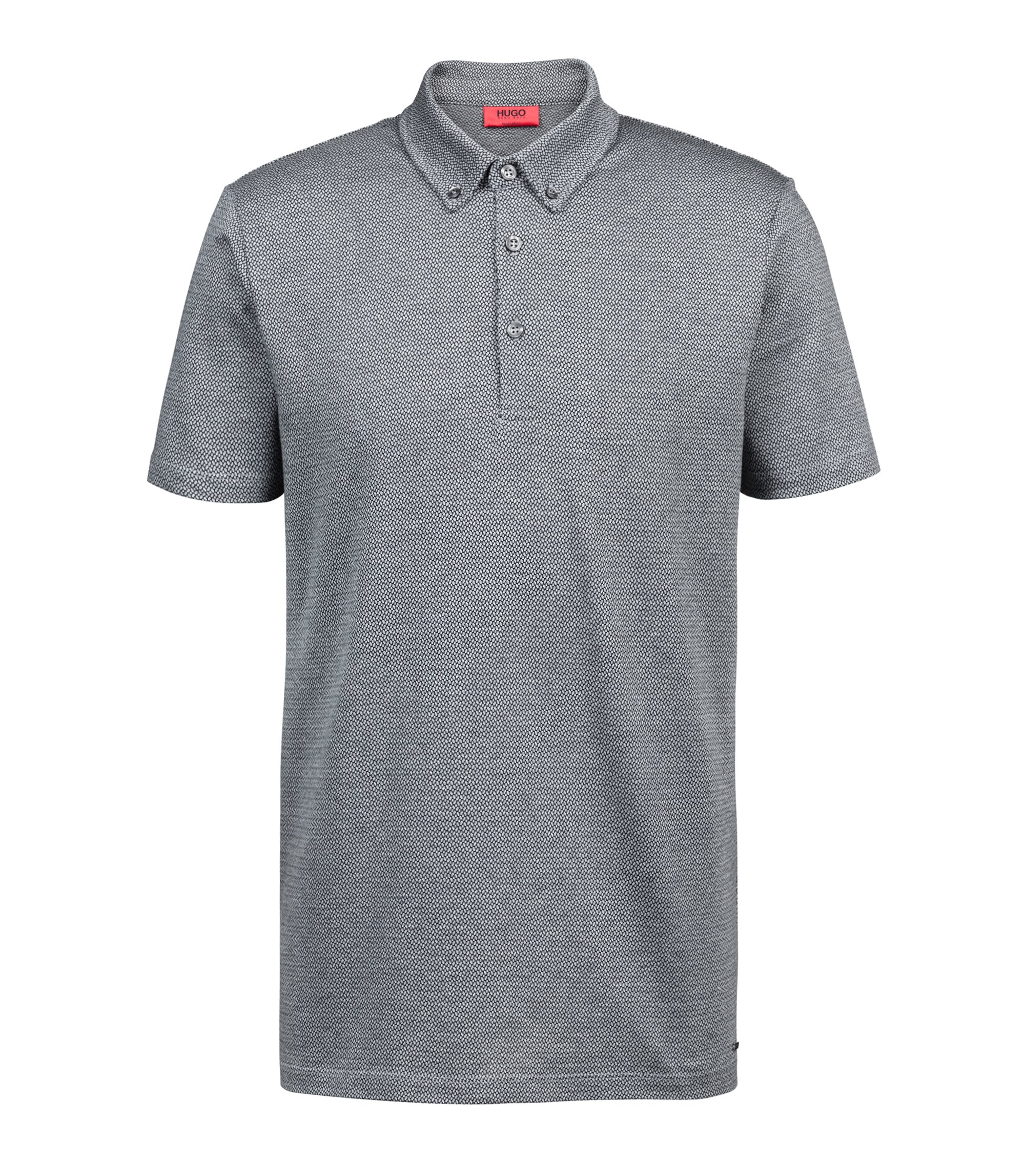 Regular-fit knitted polo shirt in lightweight cotton jacquard, Grey