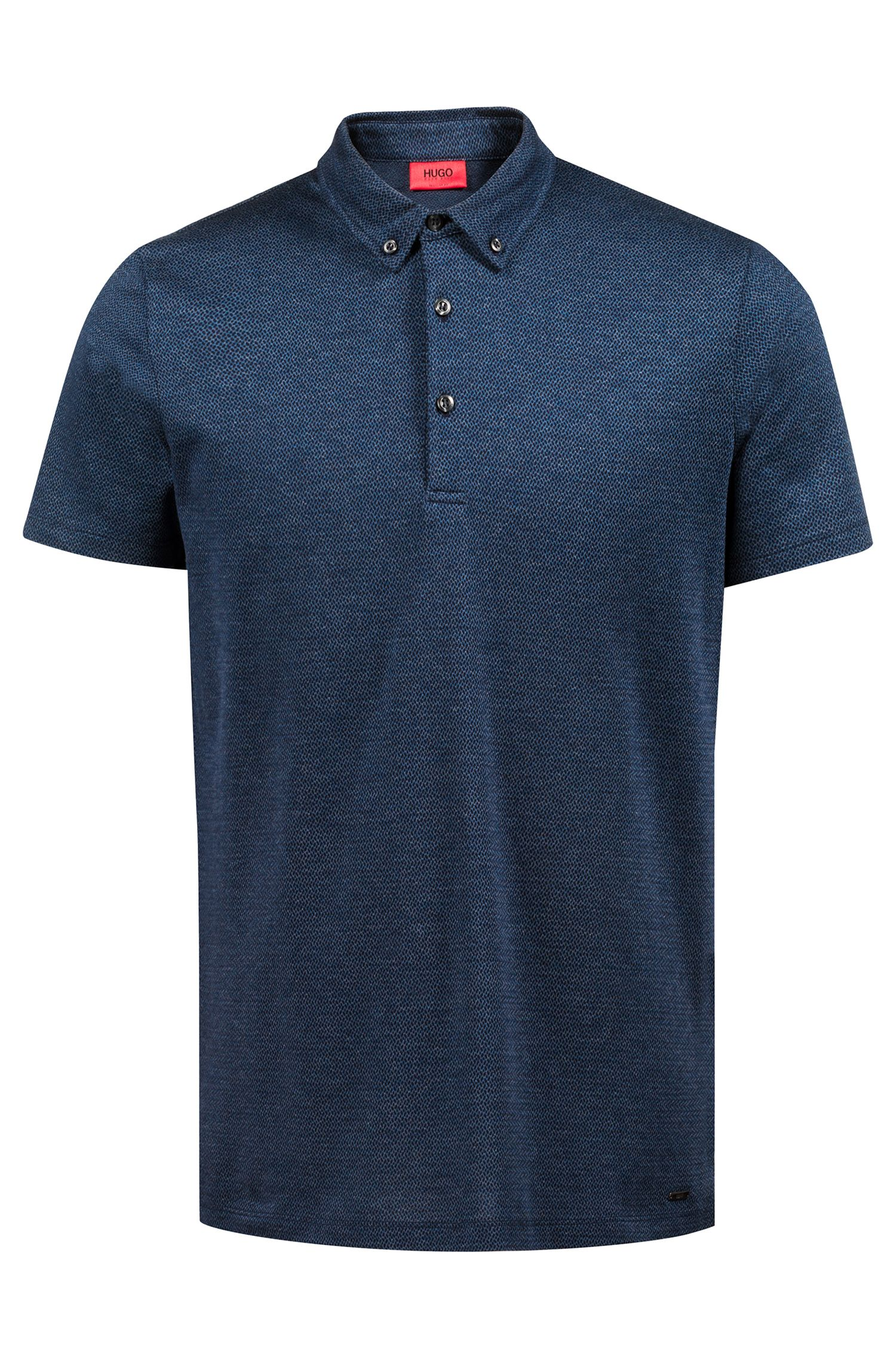 Regular-fit knitted polo shirt in lightweight cotton jacquard, Dark Blue