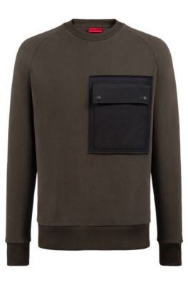 Oversized Fit Fleece Sweatshirt With Large Chest Pocket by Boss