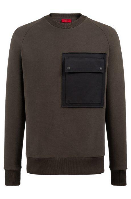Oversized-fit fleece sweatshirt with large chest pocket, Dark Green 09f026ee840