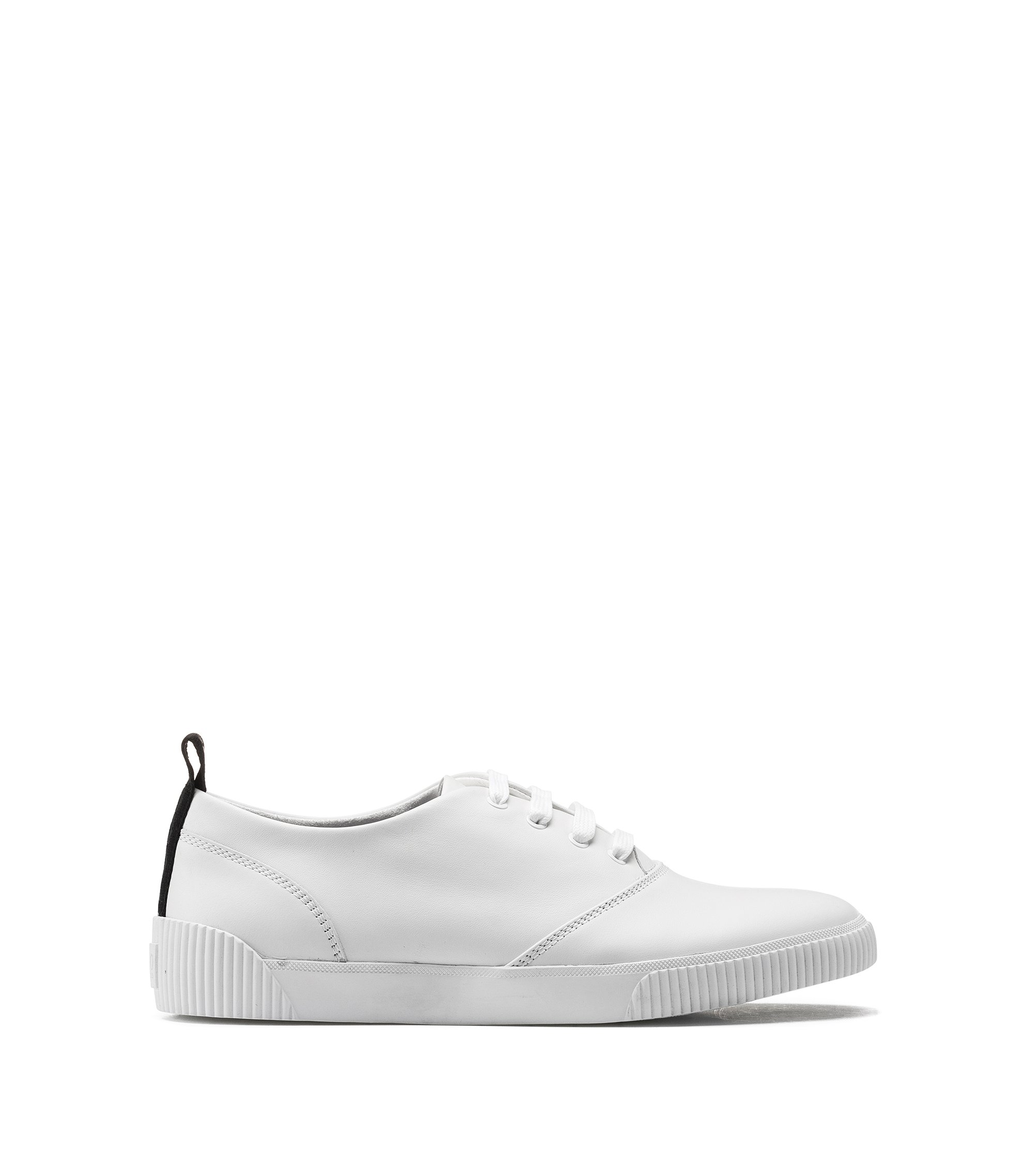 Leather trainers with stitch detailing, White