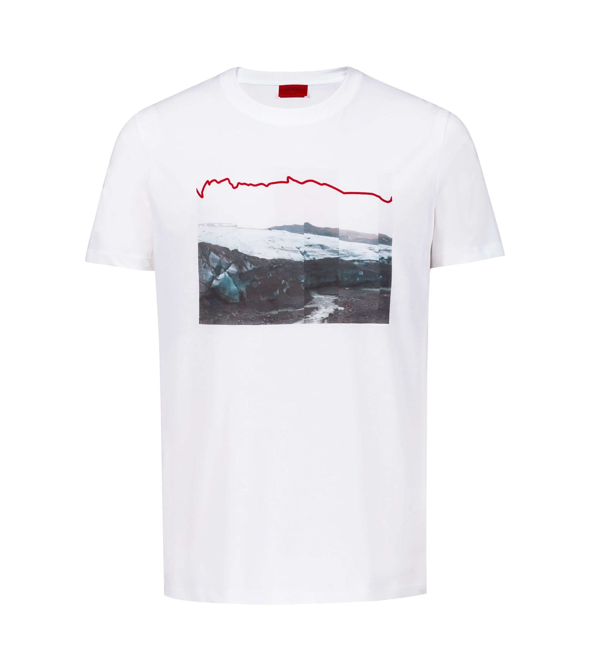 T-shirt mixte en coton orné d'un motif arty de la collection, Blanc
