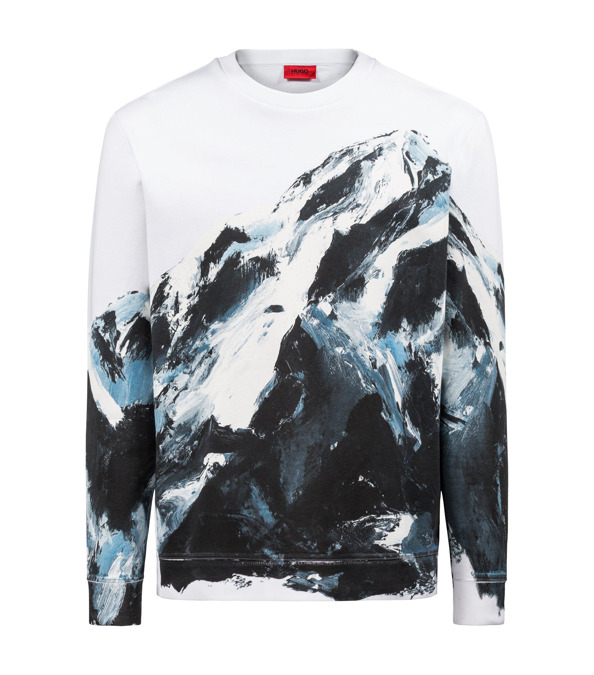 Oversized Sweatshirt aus Baumwolle mit Berg-Motiv, Gemustert
