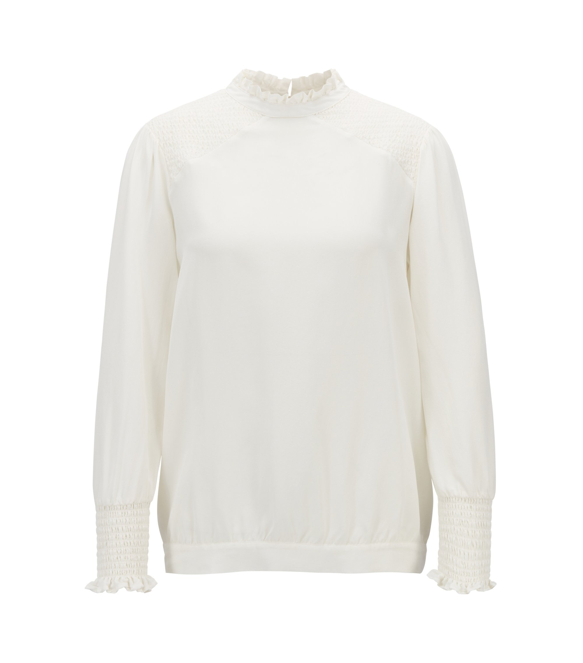 Regular-fit blouse van zijde met ruches en smockdetails, Naturel