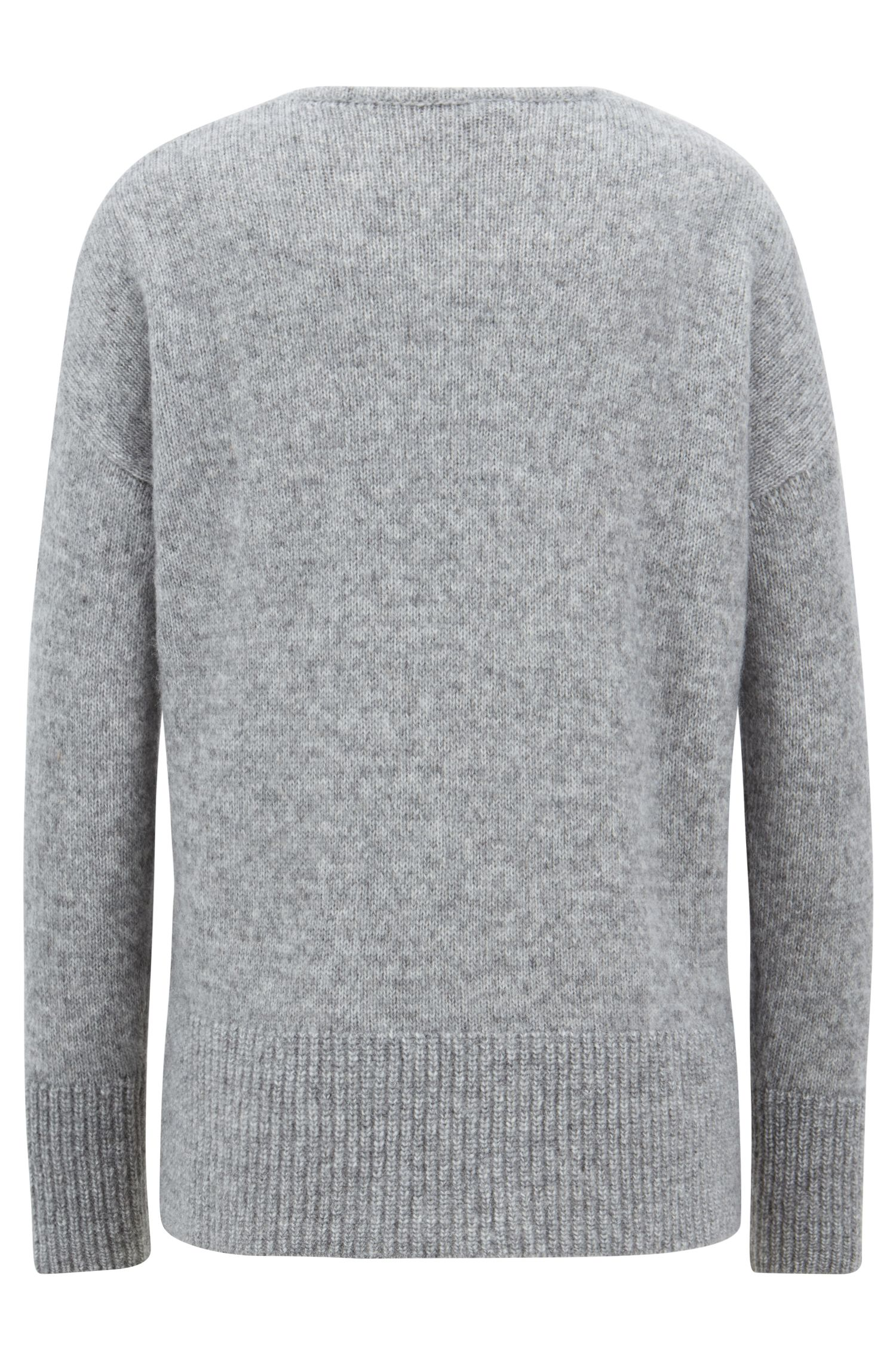 Relaxed-fit V-neck sweater with dropped shoulders, Silver