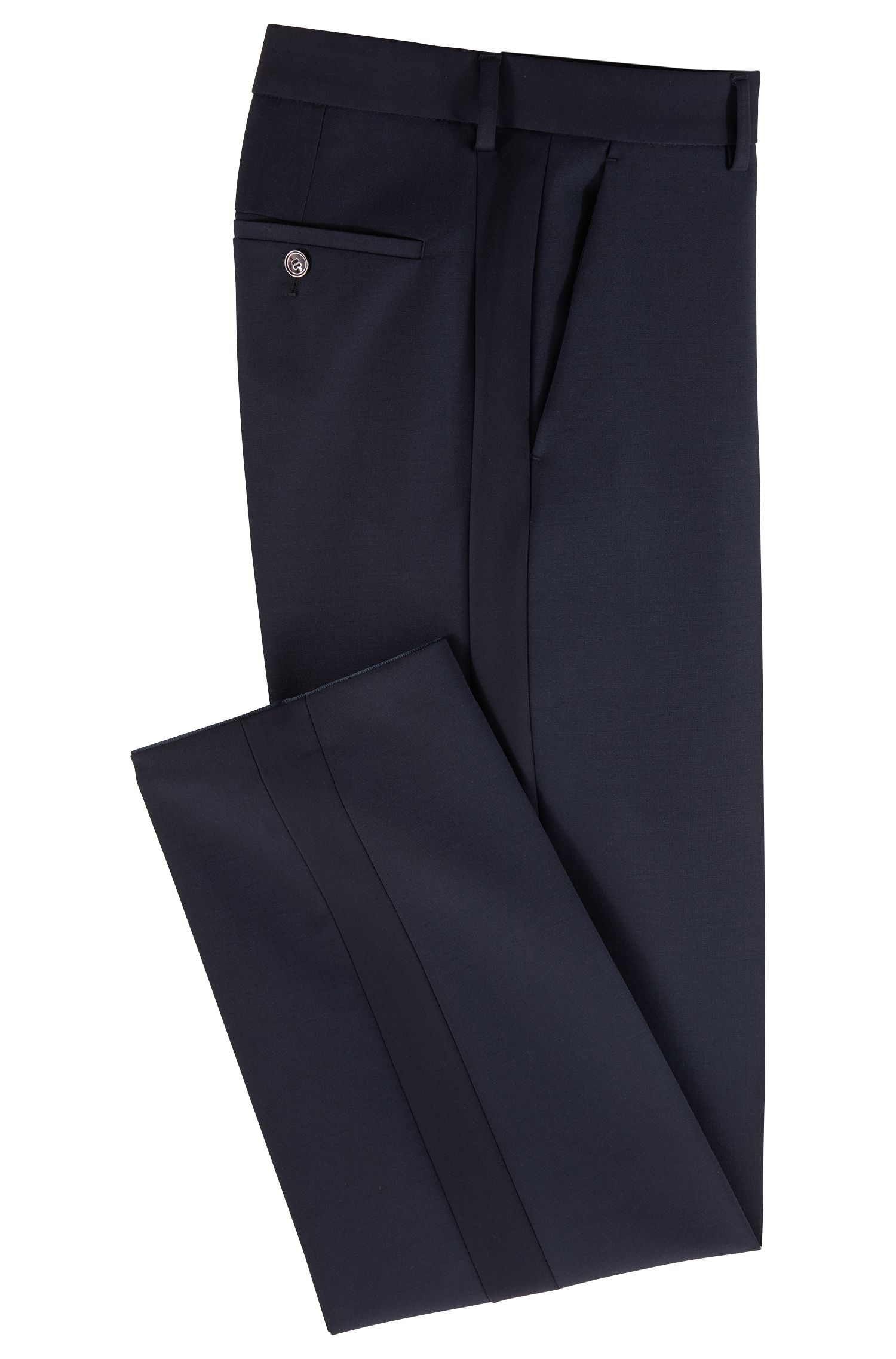 Pantaloni slim fit in lana vergine con mohair, Blu scuro