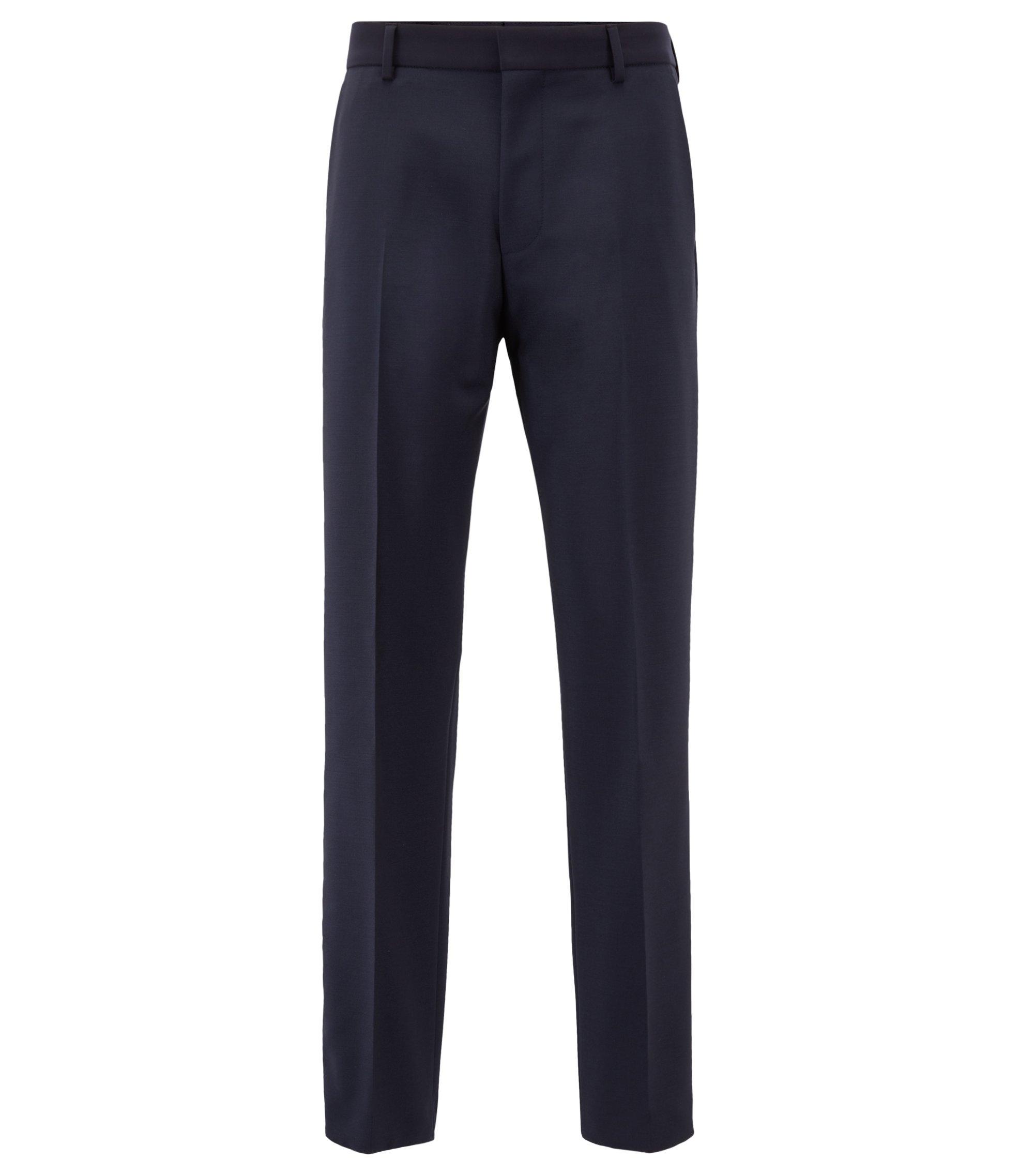 Slim-fit trousers in virgin wool with mohair, Dark Blue