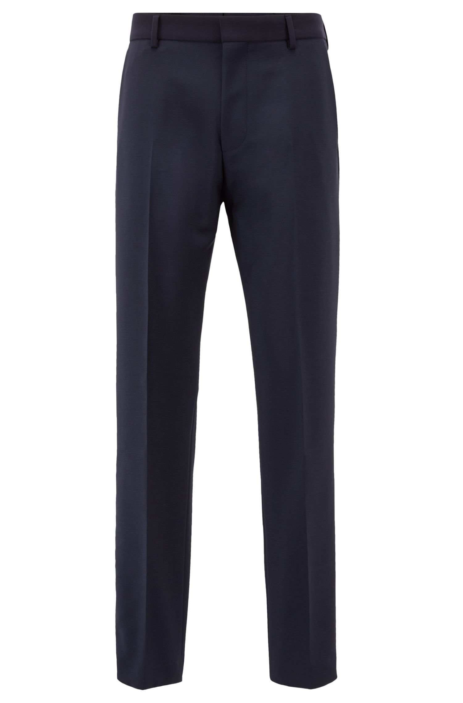 Slim-fit trousers in virgin wool with mohair, Dark Blue