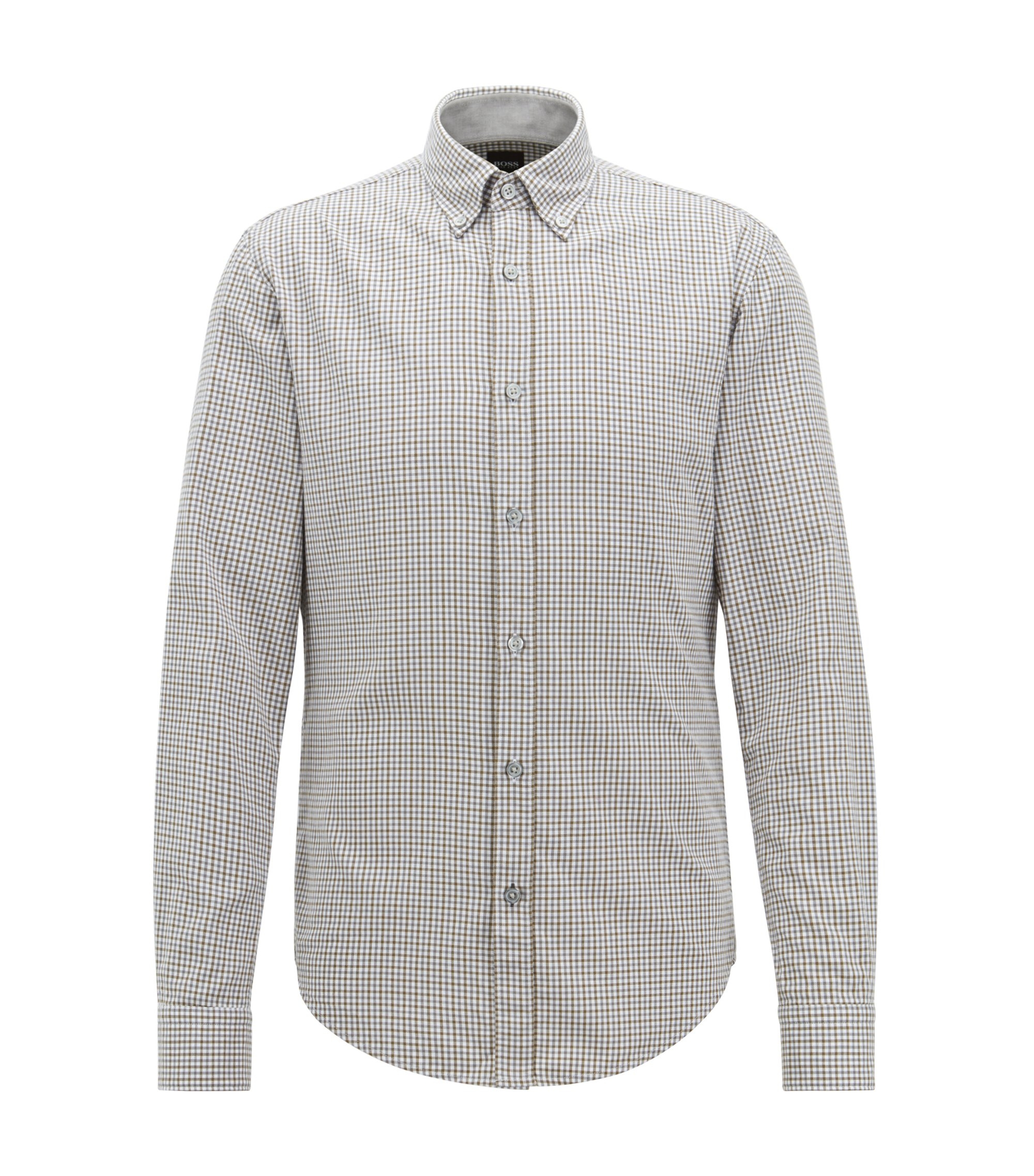 Slim-fit shirt in Vichy-checked twill, Dark Green