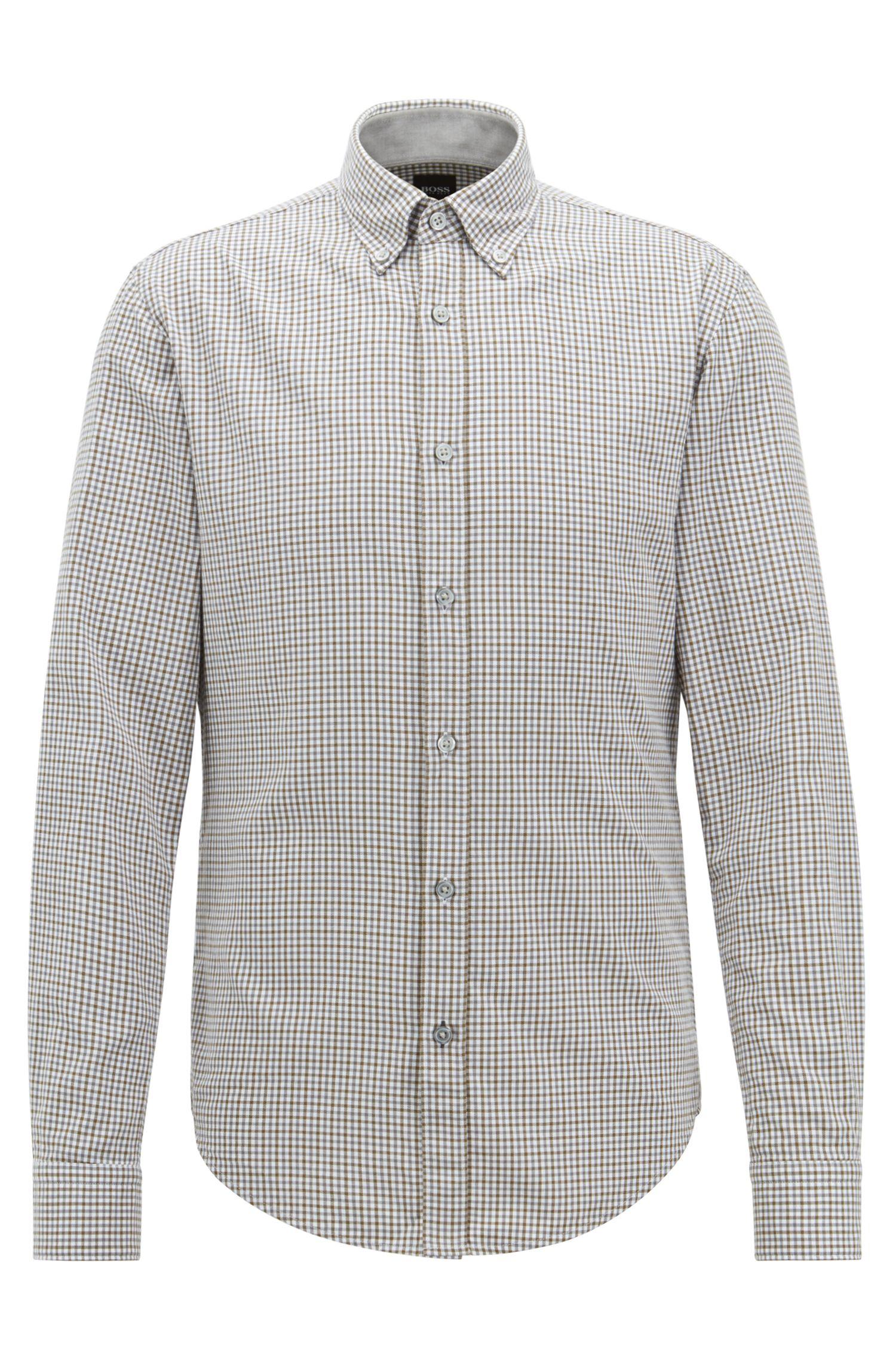 Slim-Fit Hemd aus Baumwoll-Twill mit Vichy-Karo, Dunkelgrün