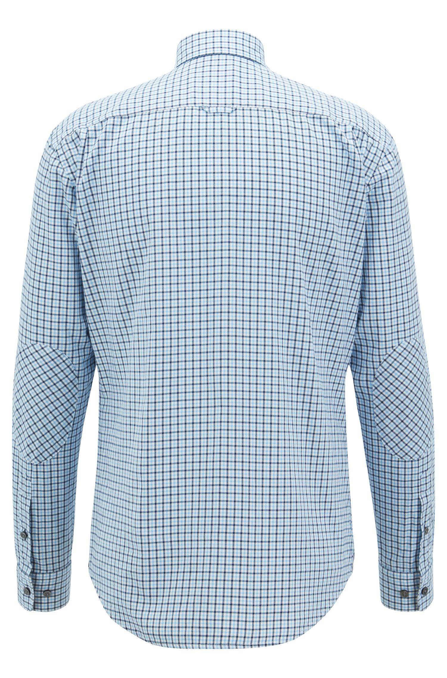 Slim-fit shirt in Vichy-checked twill, Light Blue