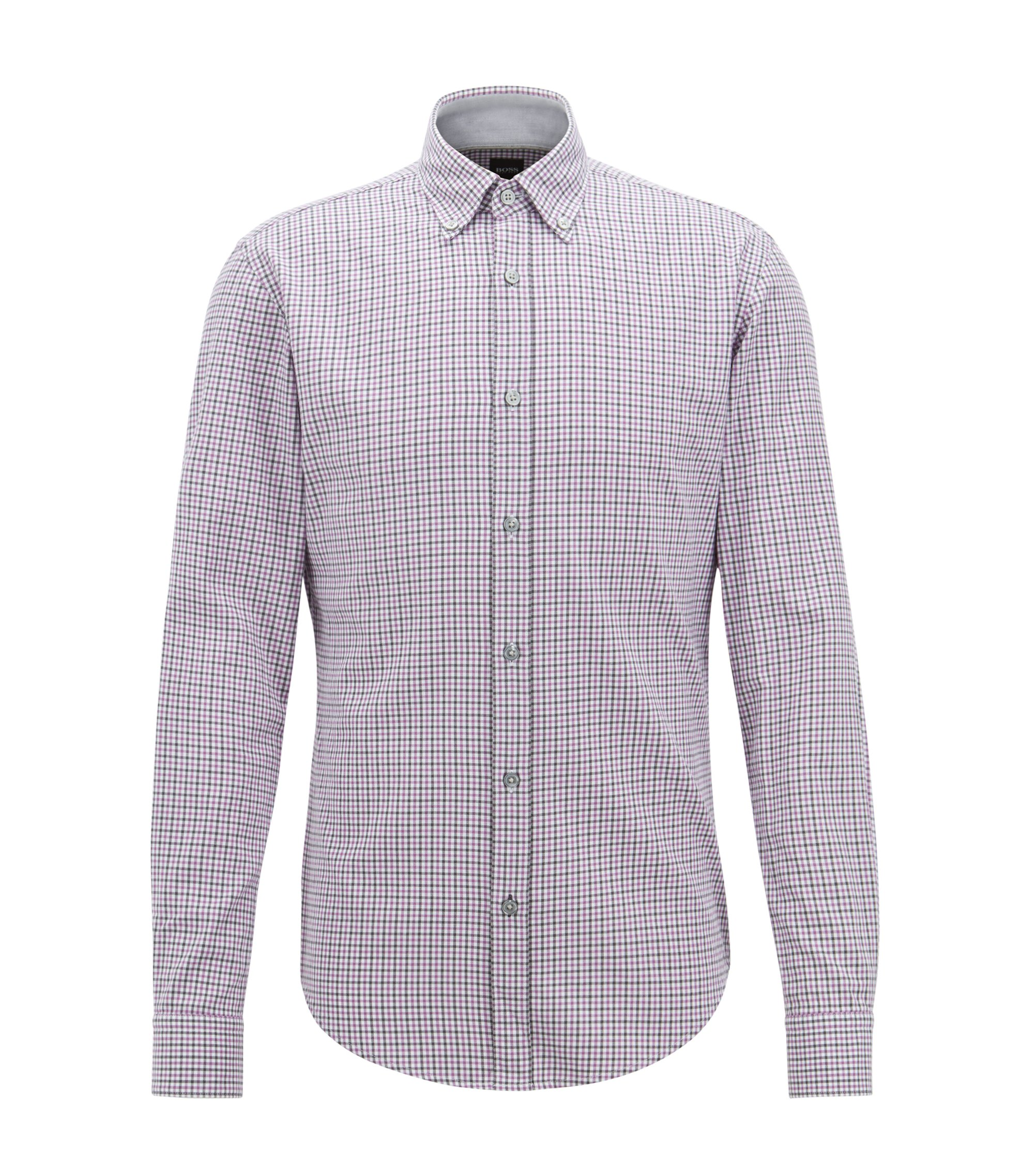 Slim-fit shirt in Vichy-checked twill, Purple
