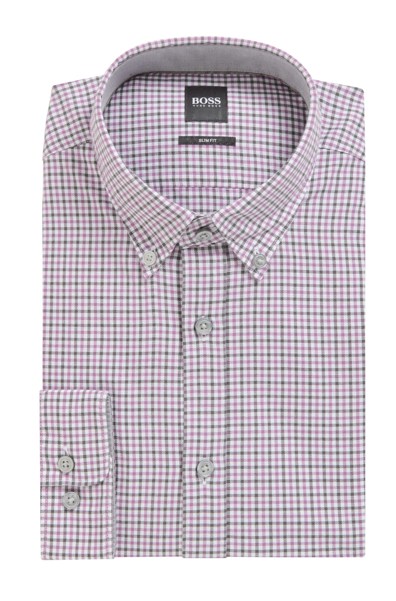 Chemise Slim Fit en twill à carreaux vichy, Lilas