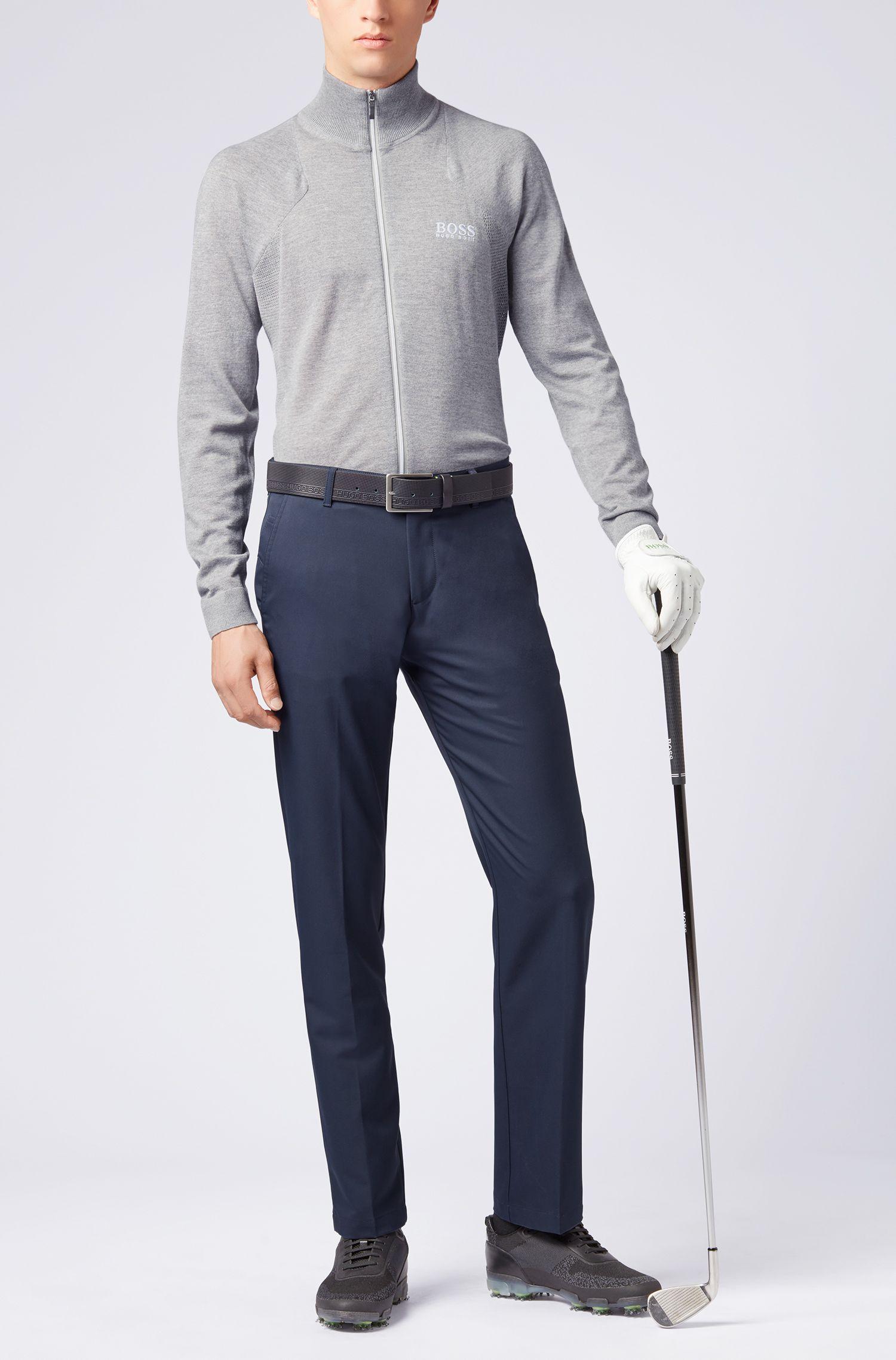 Zip-through sweater in water-repellent merino wool, Light Grey