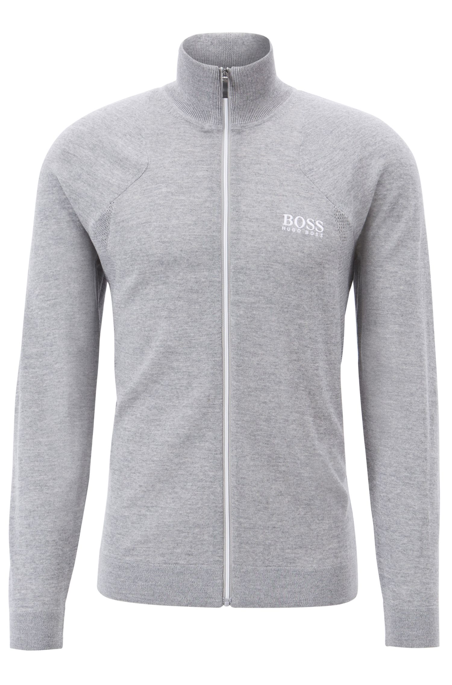 Zip-through sweater in water-repellent merino wool, Light Grey