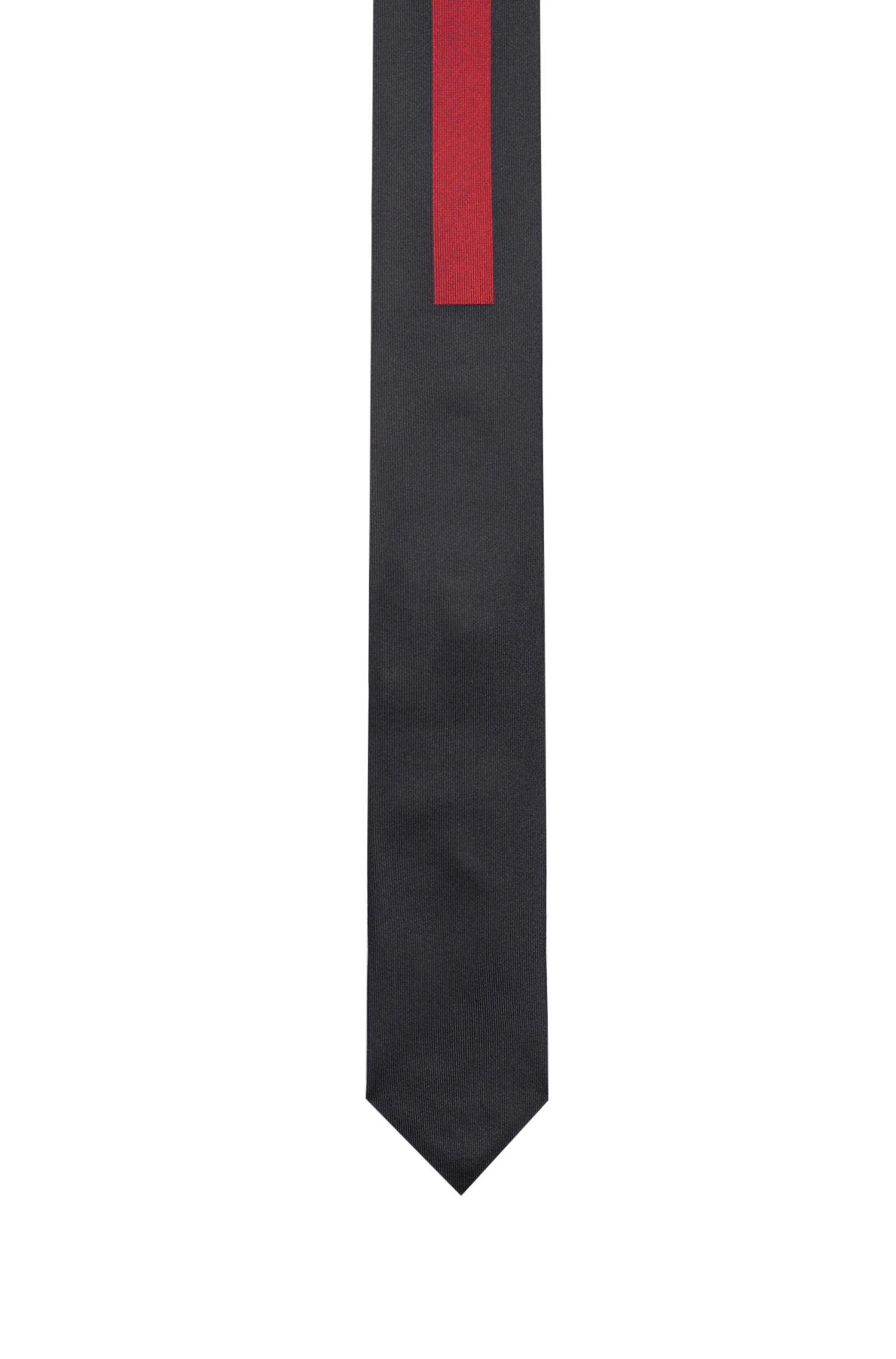 Cravatta a blocchi di colore in seta jacquard, Rosso