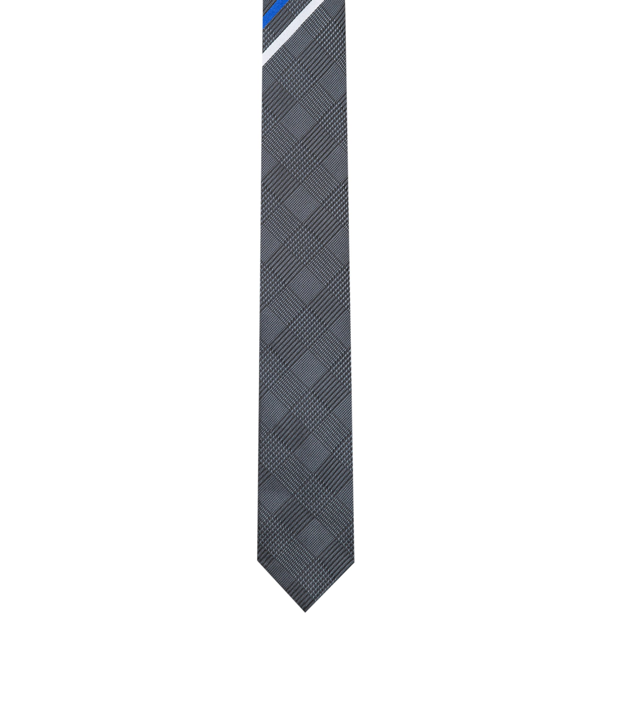 Diagonal-striped tie in silk jacquard, Black