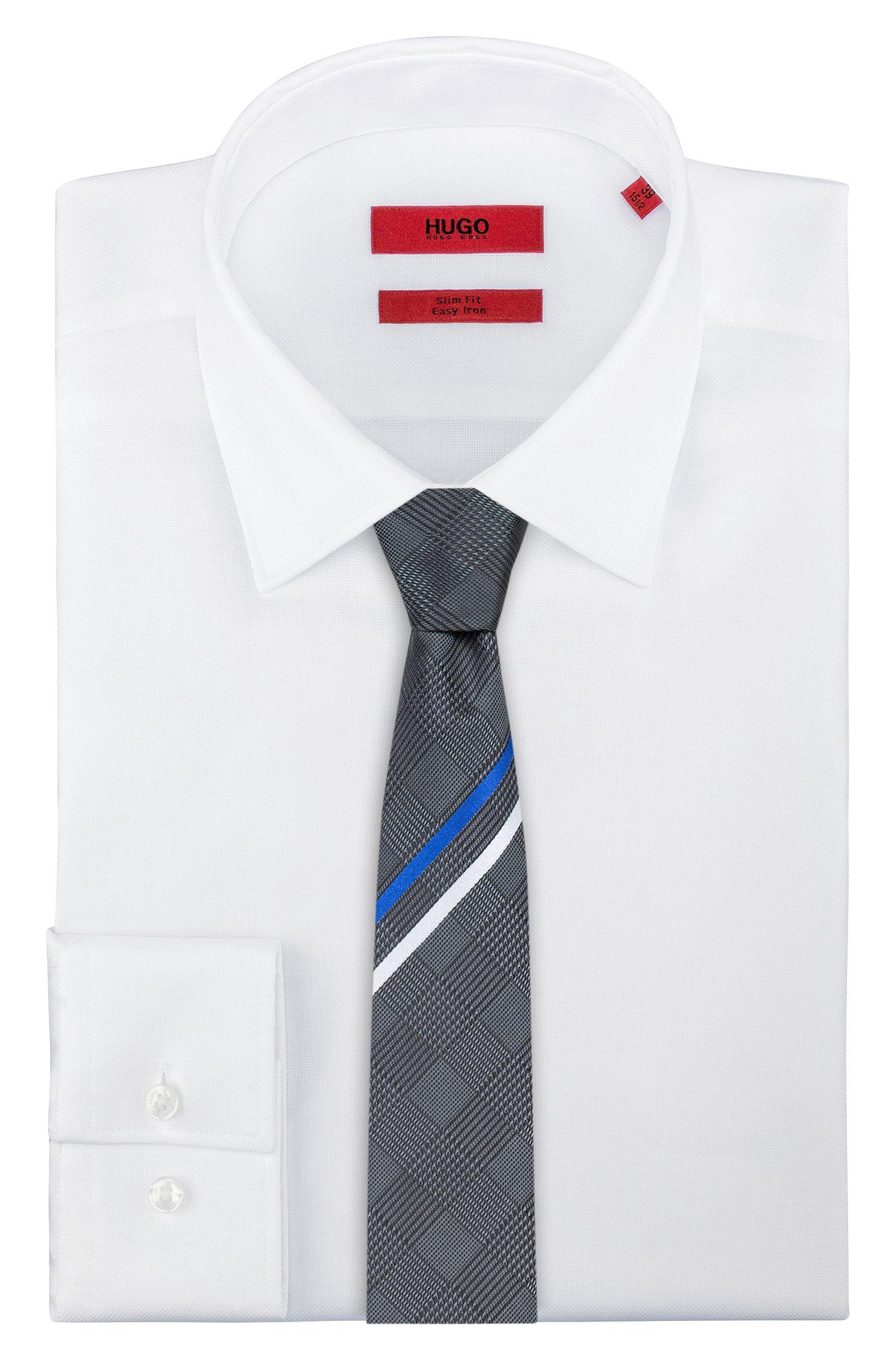 Diagonal-striped tie in silk jacquard, Black