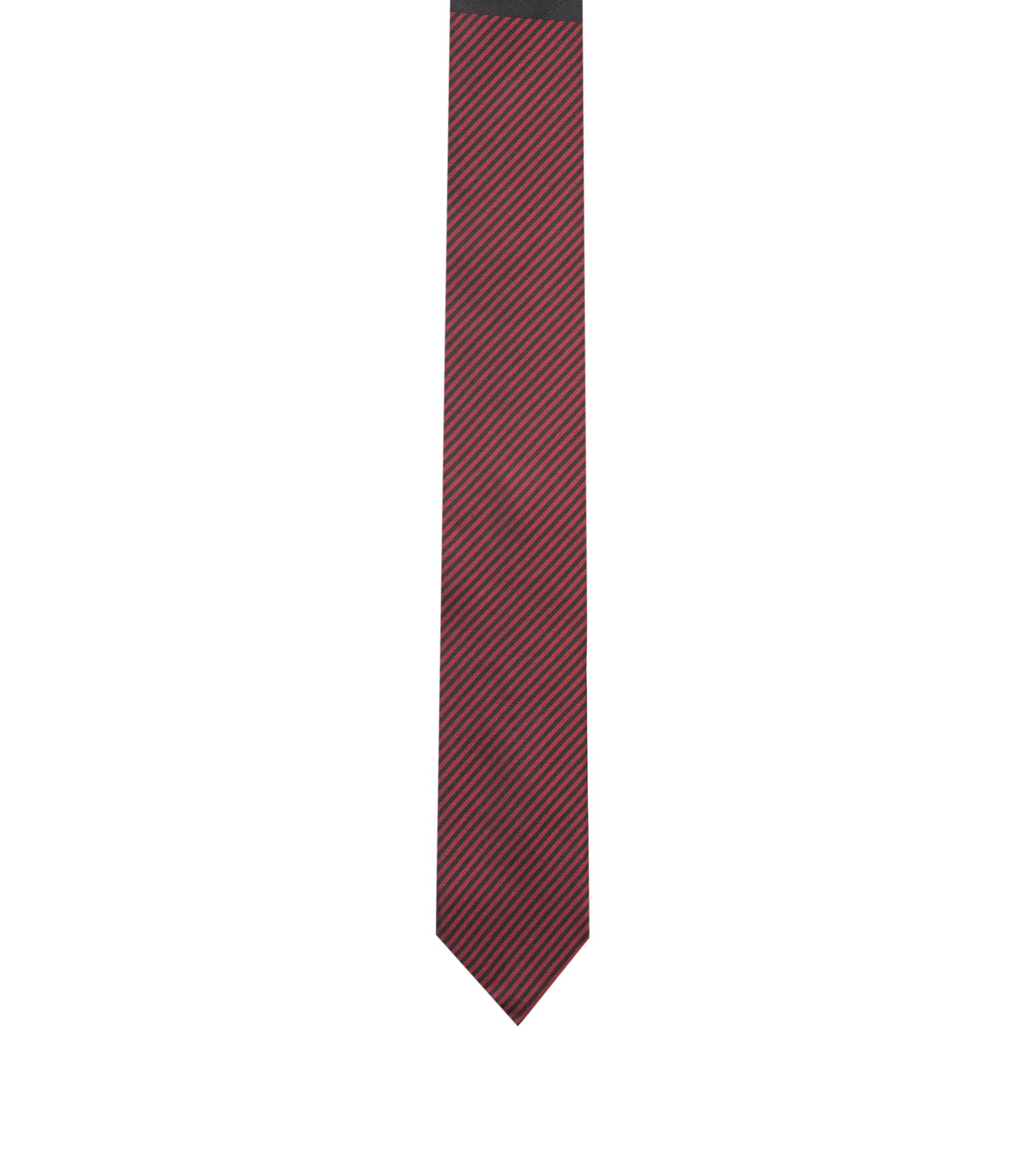Diagonal-stripe silk tie with colour-block detail, Red
