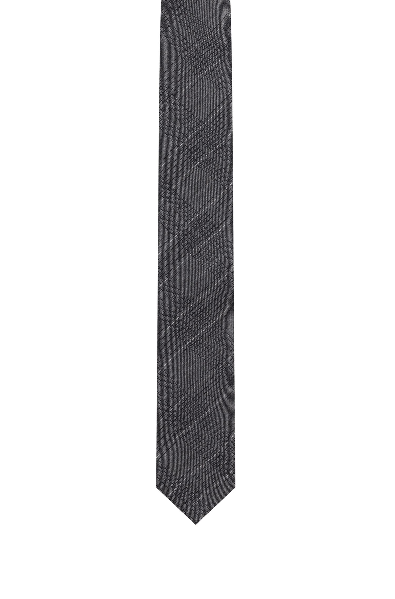 Checked tie in a wool-silk blend, Grey