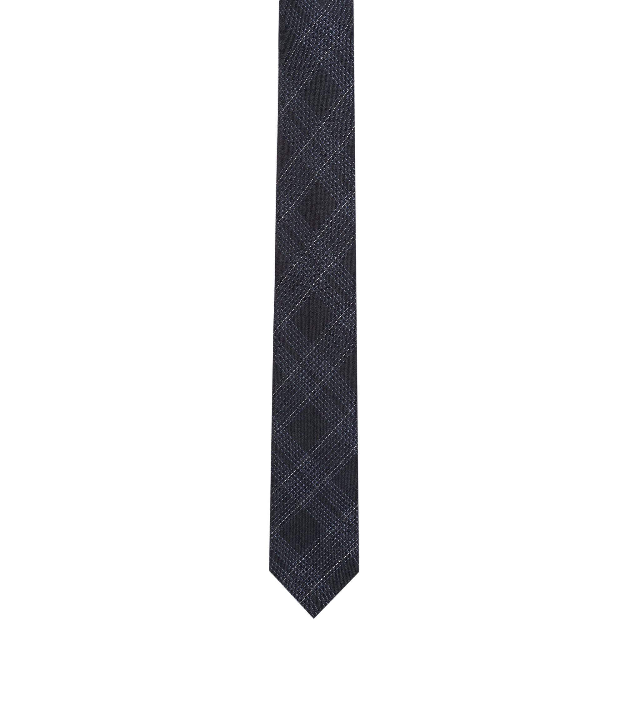 Checked tie in a wool-silk blend, Dark Blue