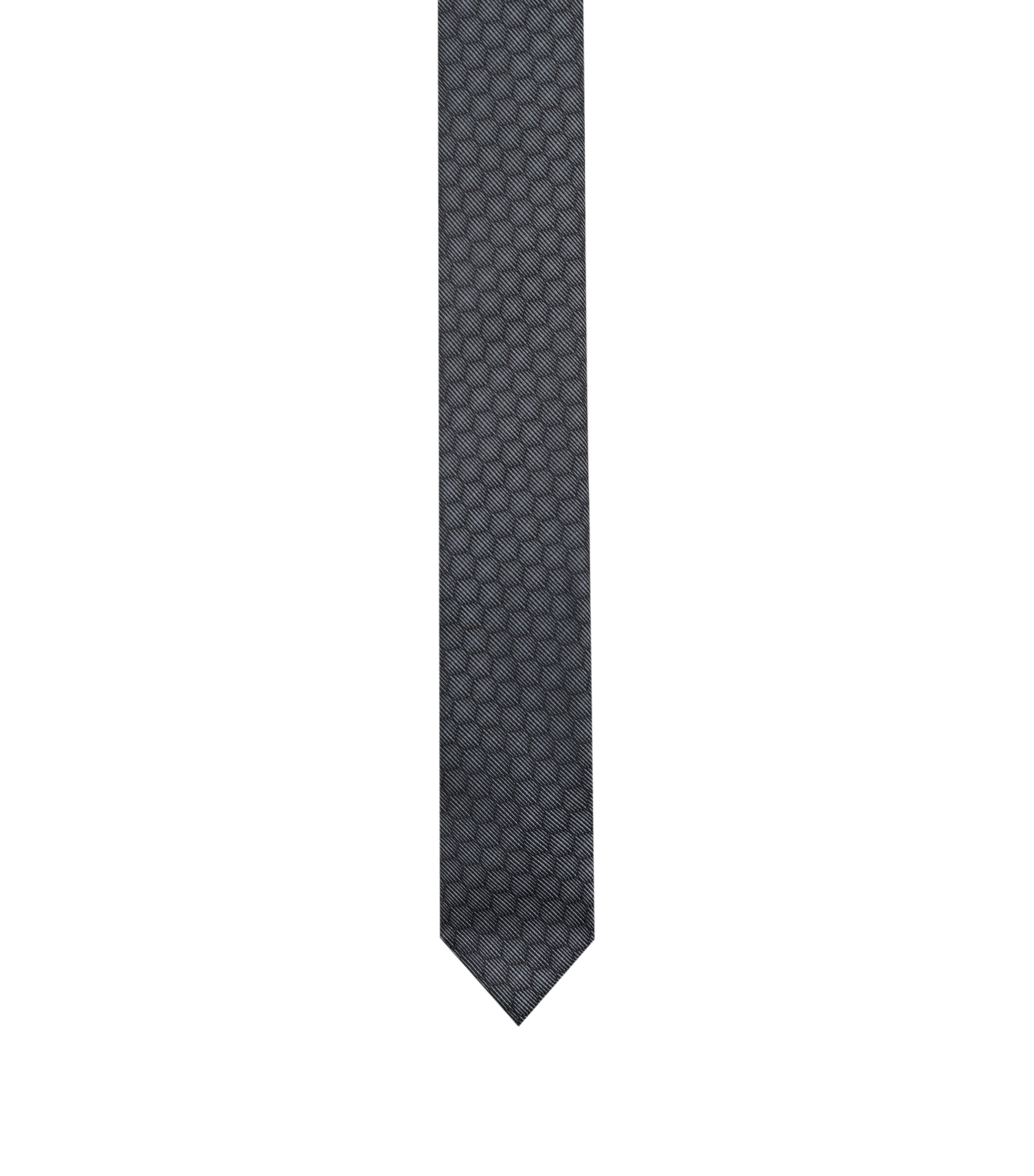 Tie in silk jacquard with honeycomb pattern, Grey