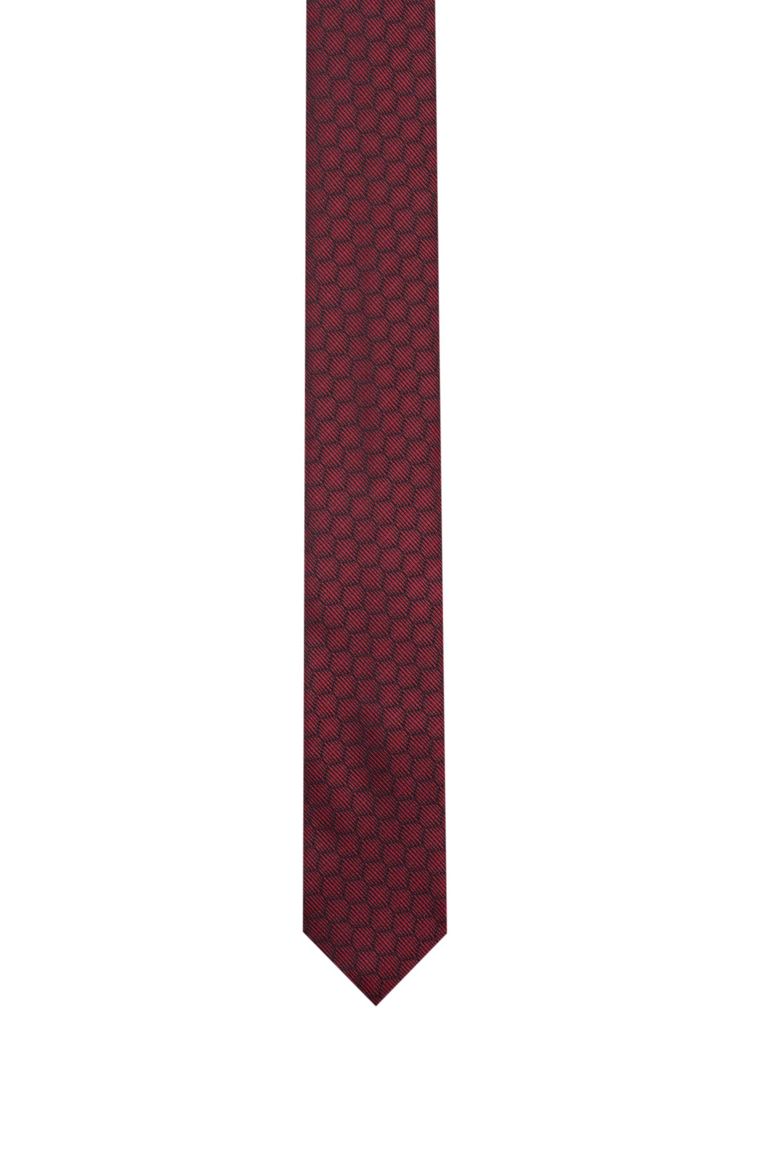 Tie in silk jacquard with honeycomb pattern, Red