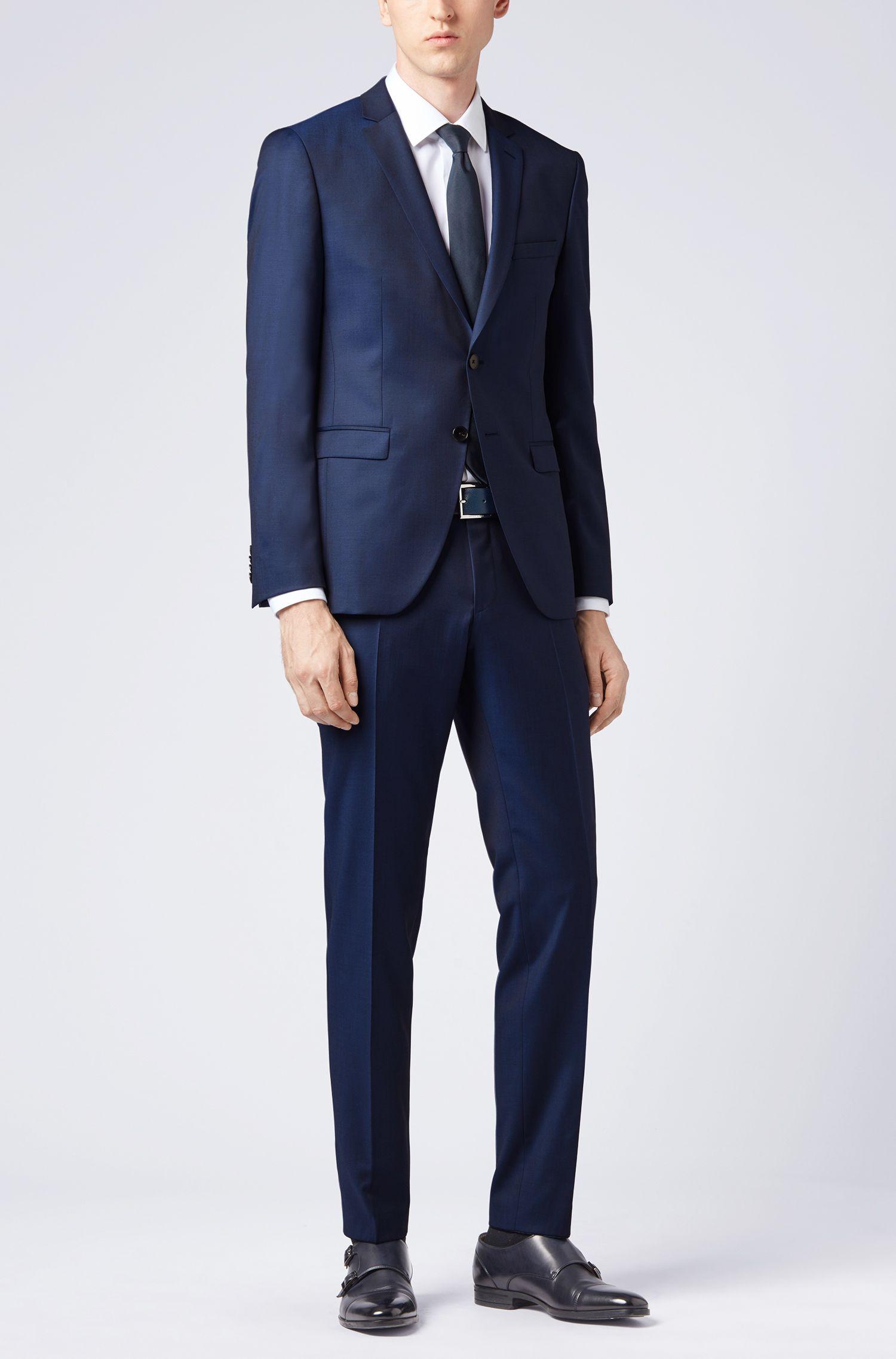 Costume Extra Slim Fit en laine vierge naturellement stretch, Bleu foncé
