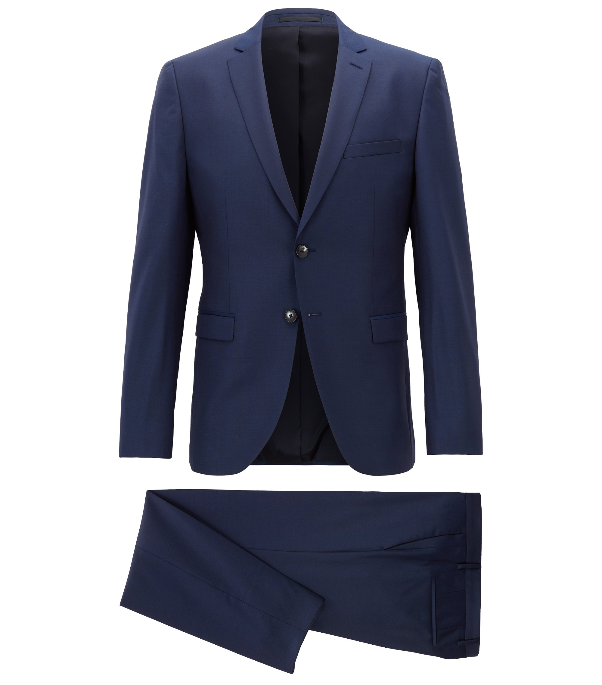 Extra-slim-fit virgin-wool suit with natural stretch, Dark Blue