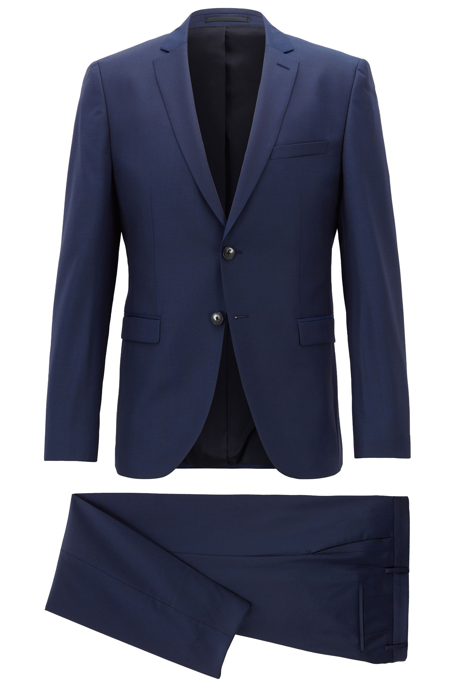 Extra-slim-fit virgin-wool suit with natural stretch
