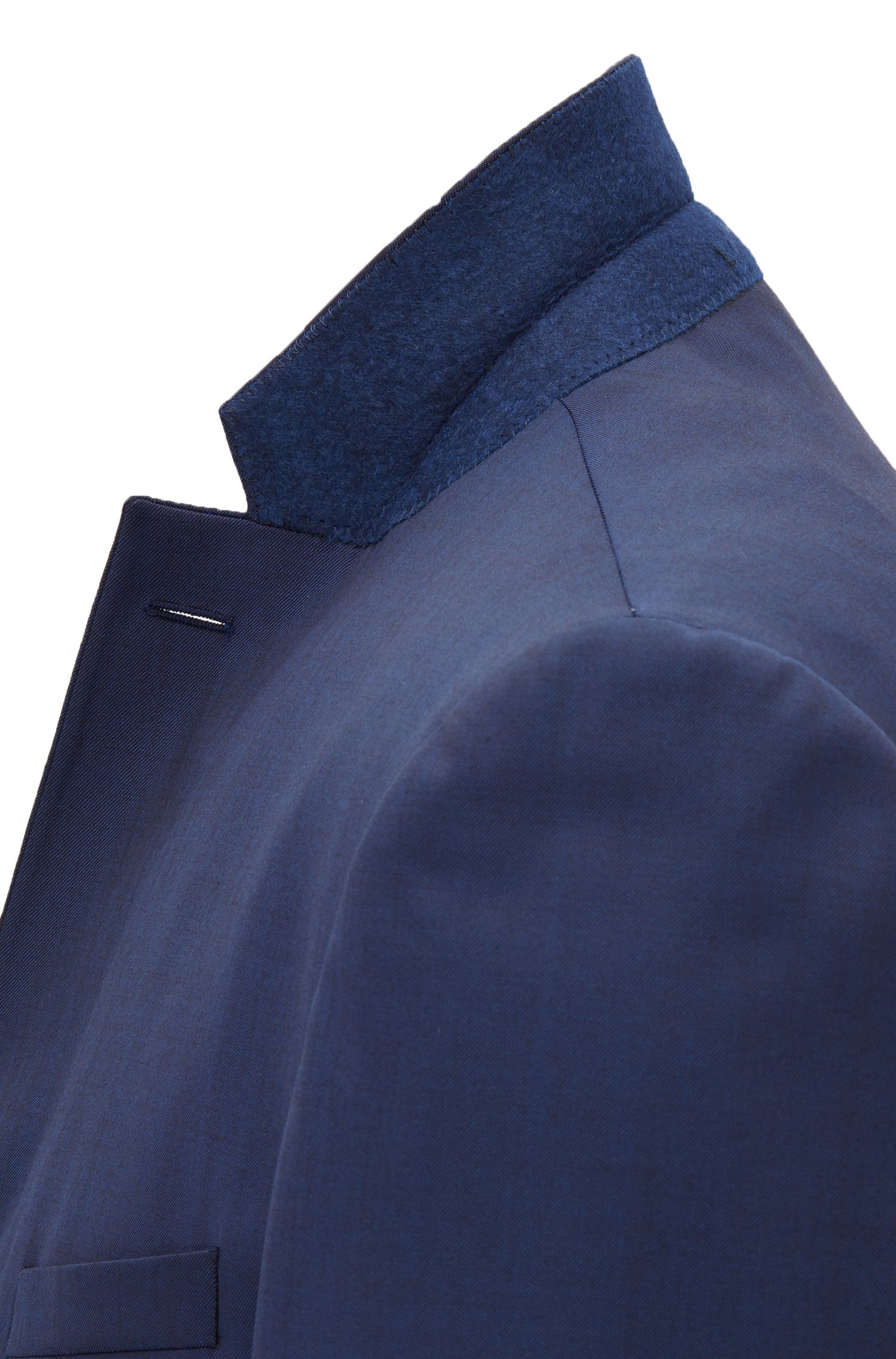 Abito extra slim fit in lana vergine con elasticità naturale, Blu scuro