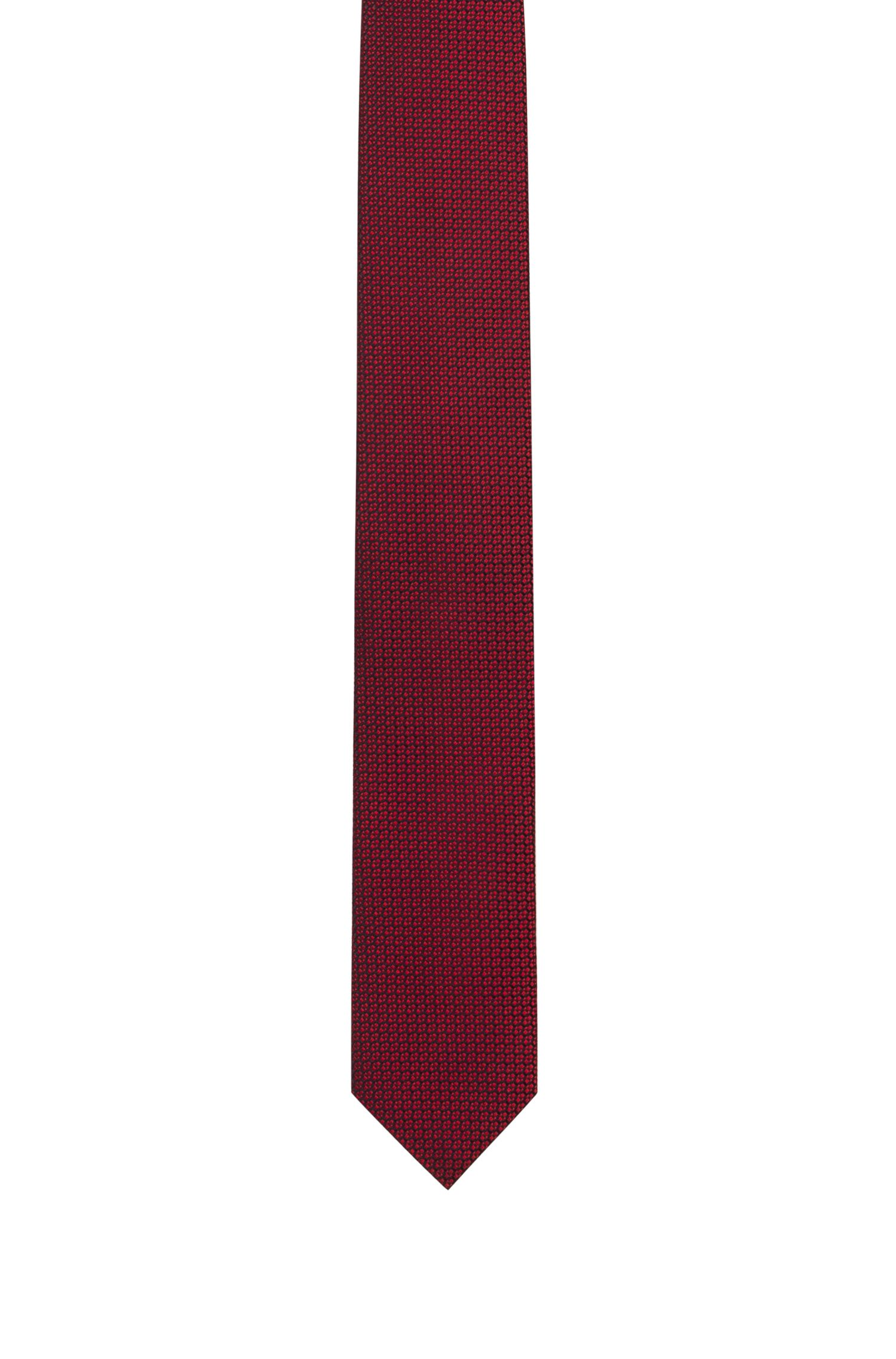 Silk-jacquard tie with micro pattern, Red