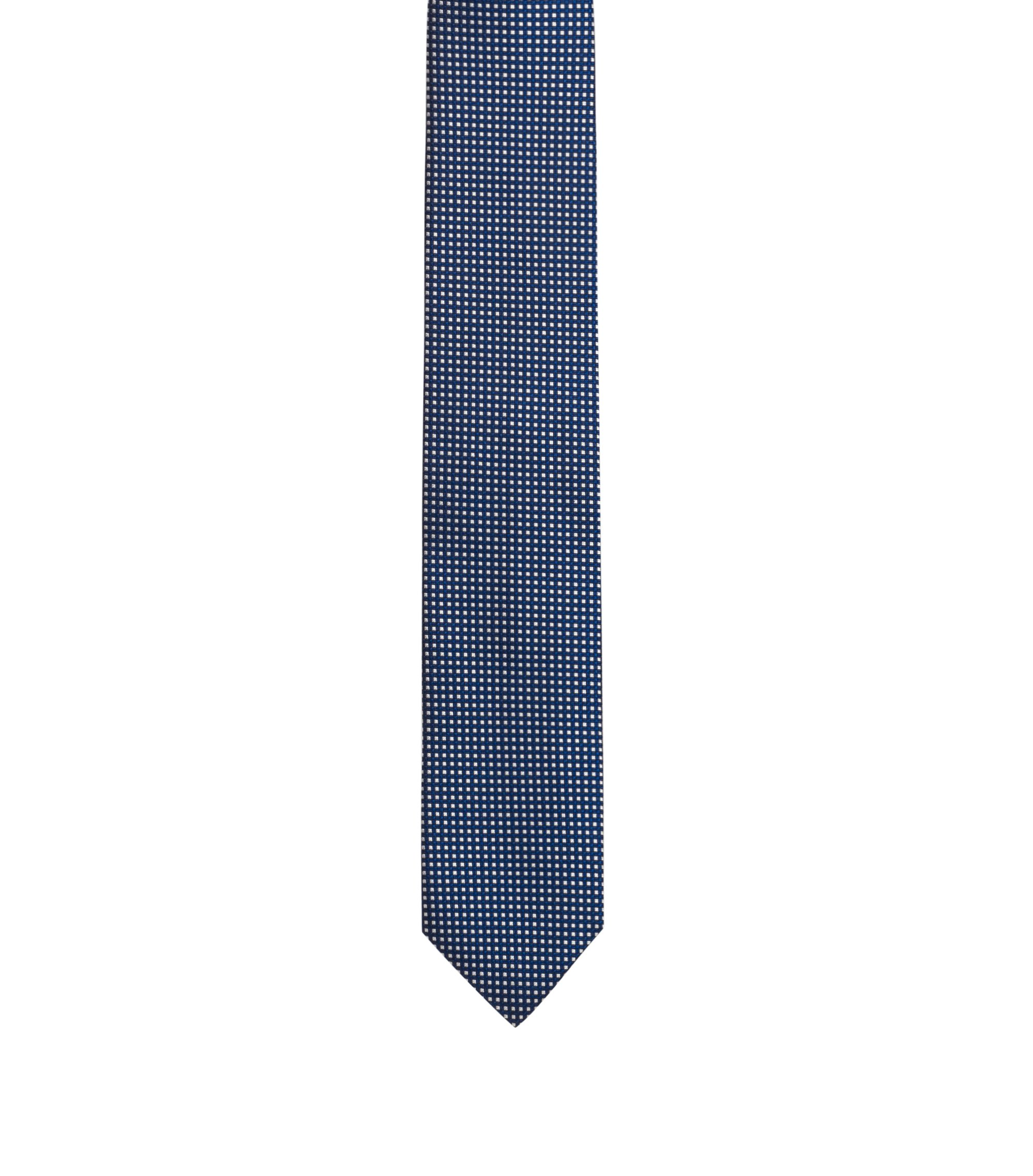 Silk-jacquard tie with micro-check pattern, Dark Blue