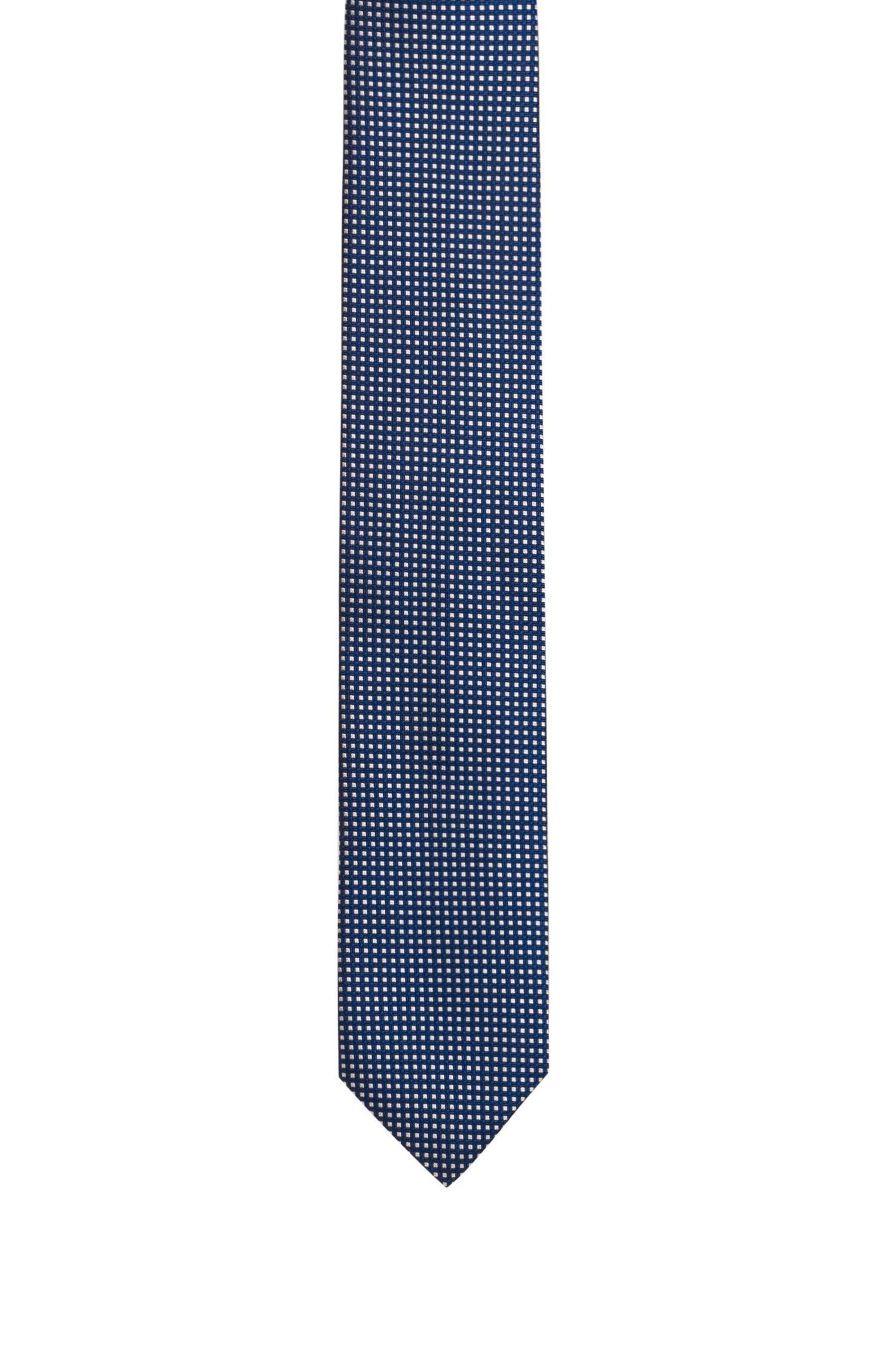 Silk-jacquard tie with micro-check pattern, Dark Blue