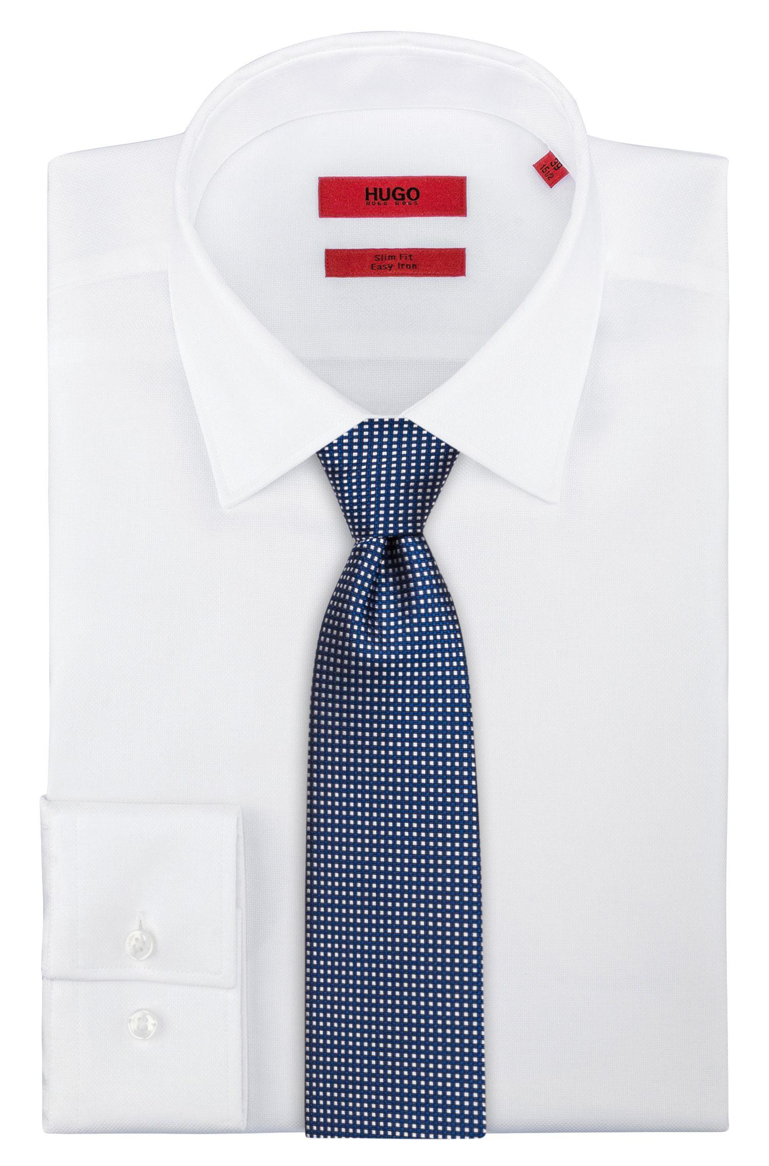 Krawatte aus Seiden-Jacquard mit filigranem Karo-Muster, Dunkelblau