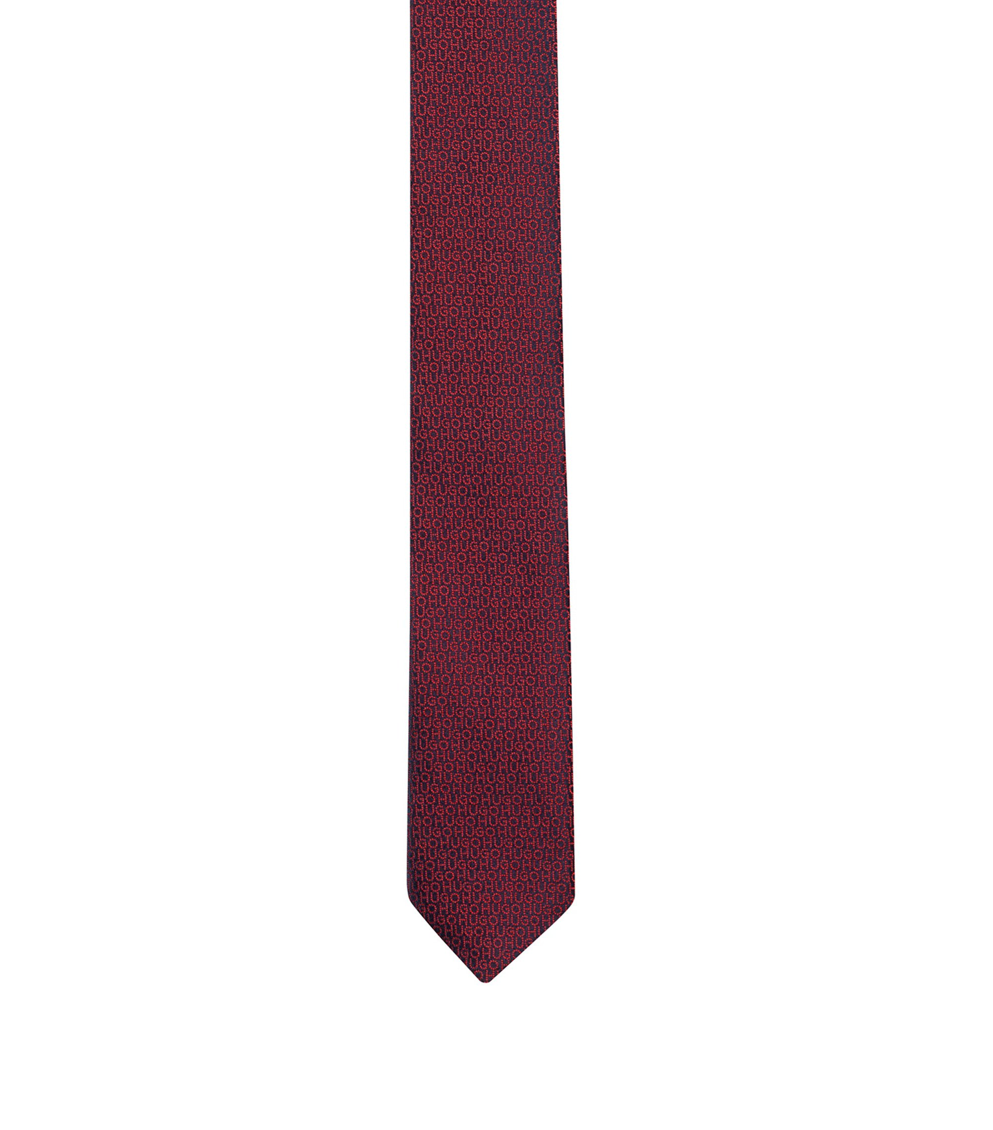 Micro-patterned tie in silk with jacquard-woven logos, Red