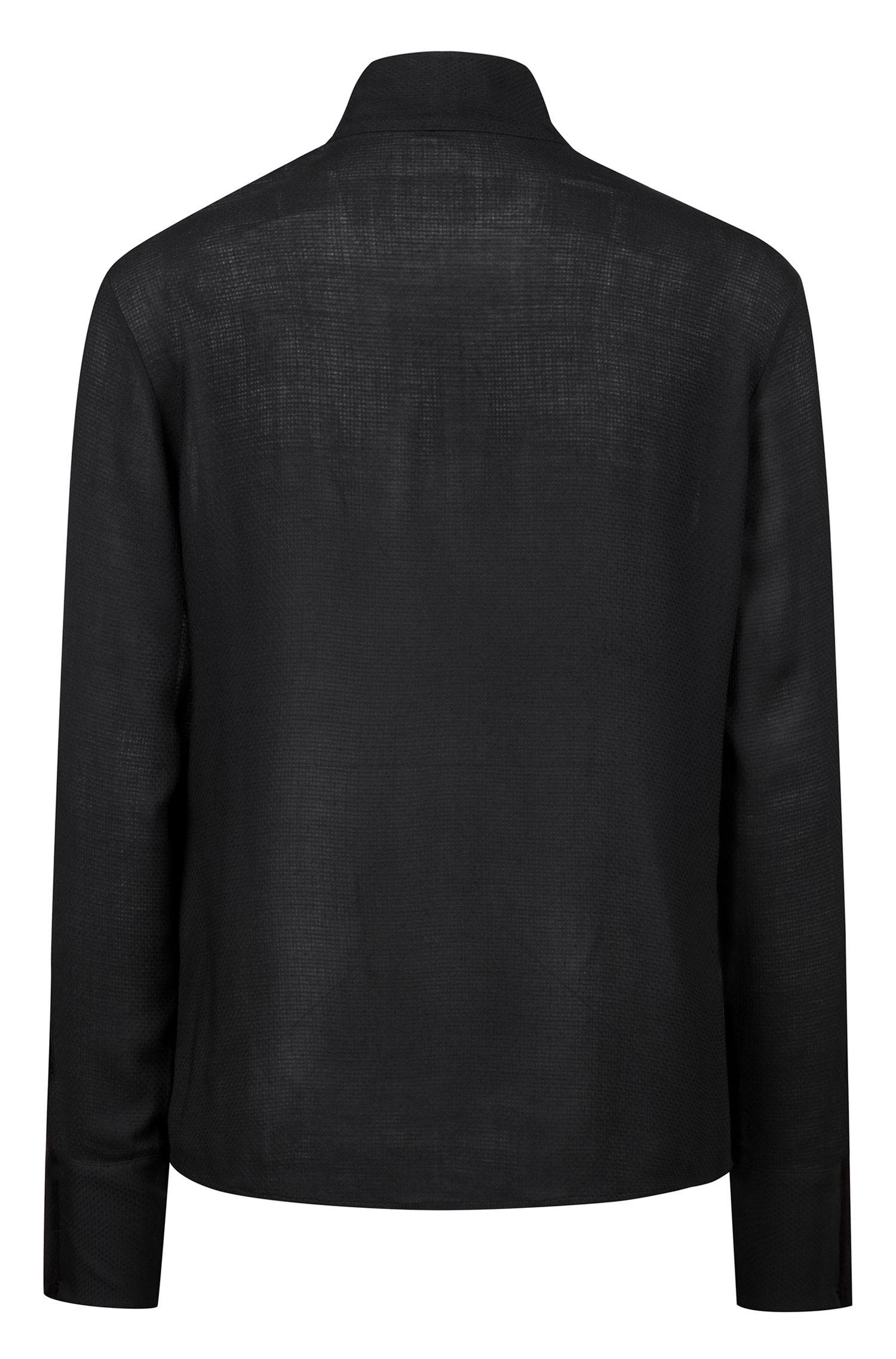Chemisier Regular Fit en tissu texturé, avec lien à nouer à l'encolure, Noir