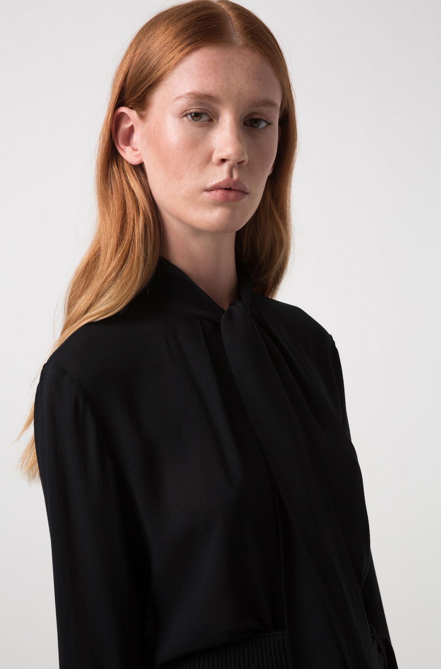 Regular-fit blouse in structured fabric with tie neck, Black