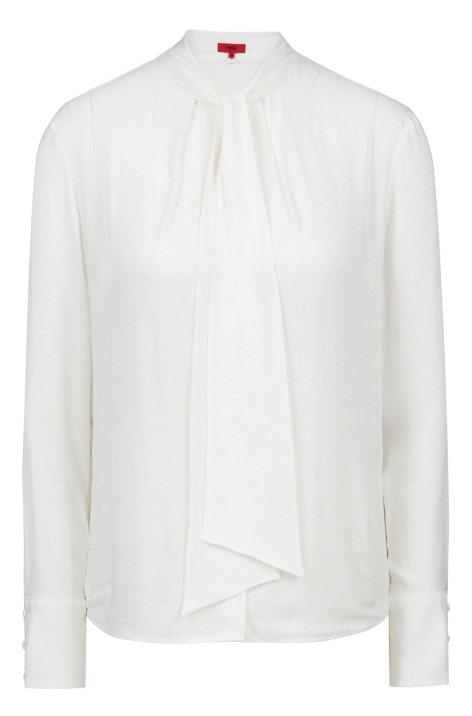 Regular-fit blouse van gestructureerd materiaal met strikhals, Naturel