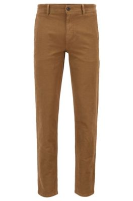 Pantalon Tapered Fit en coton stretch structuré, Beige