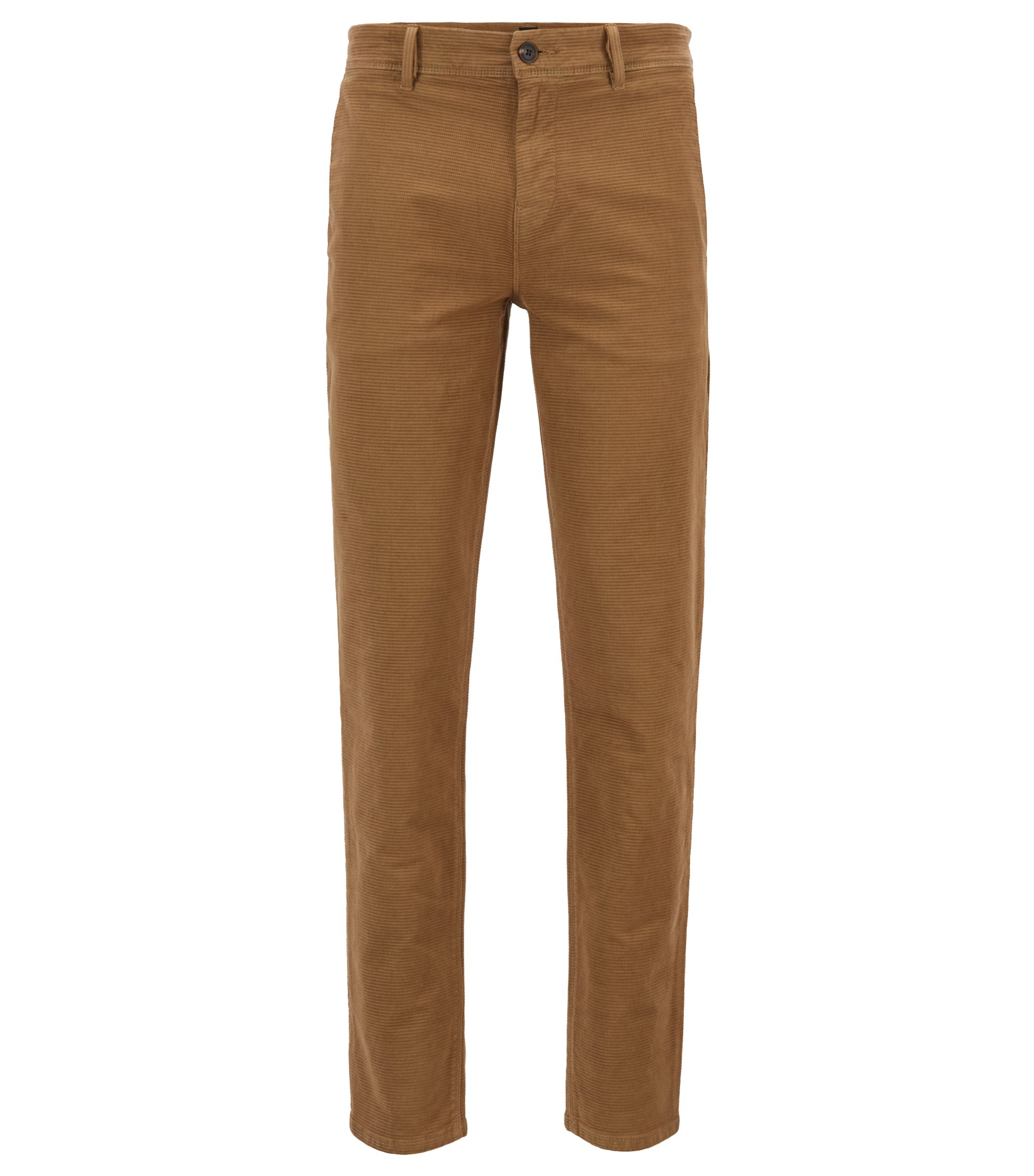 Tapered-fit trousers in structured stretch cotton, Beige